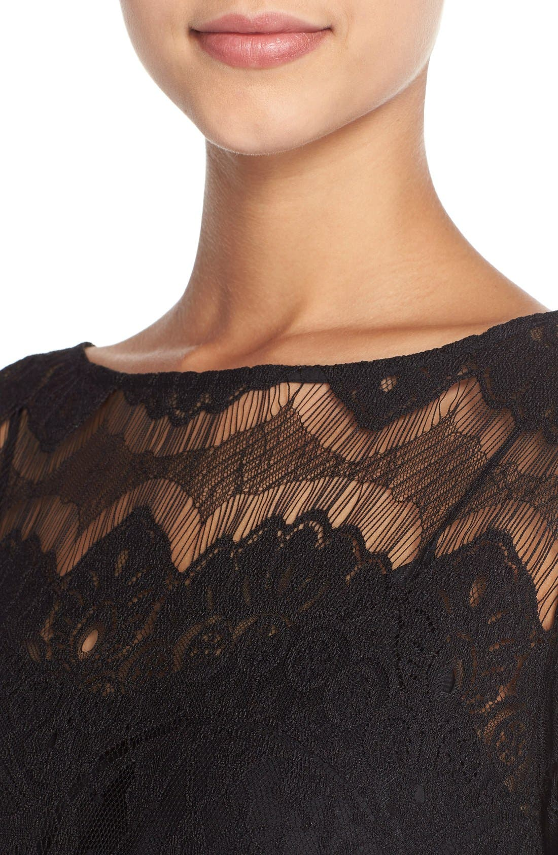 'Natalia' Lace Sheath Dress,                             Alternate thumbnail 2, color,                             001