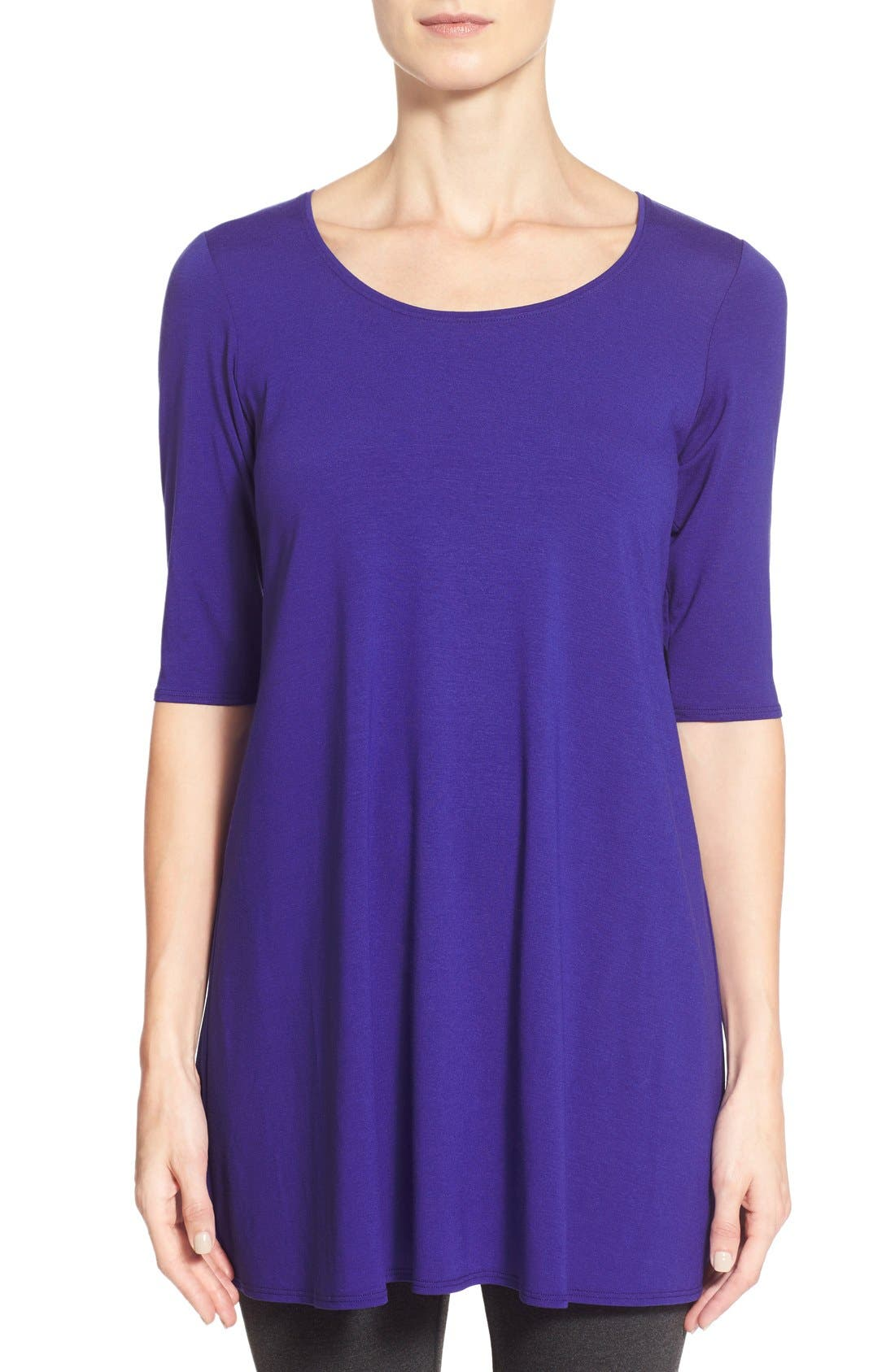 Scoop Neck Elbow Sleeve Jersey Tunic,                             Main thumbnail 6, color,