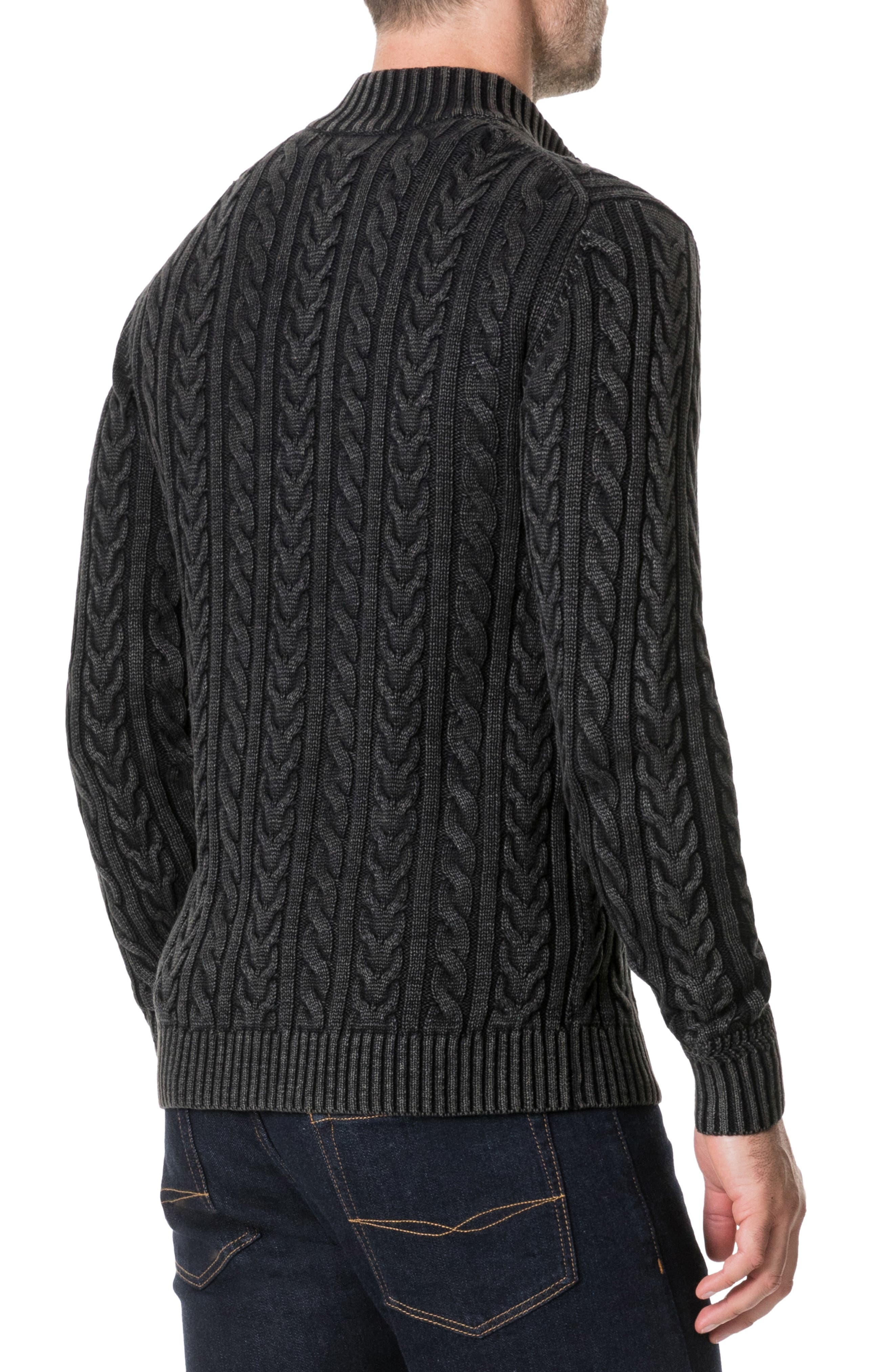 Northope Cable Zip Cardigan,                             Alternate thumbnail 2, color,                             CHARCOAL