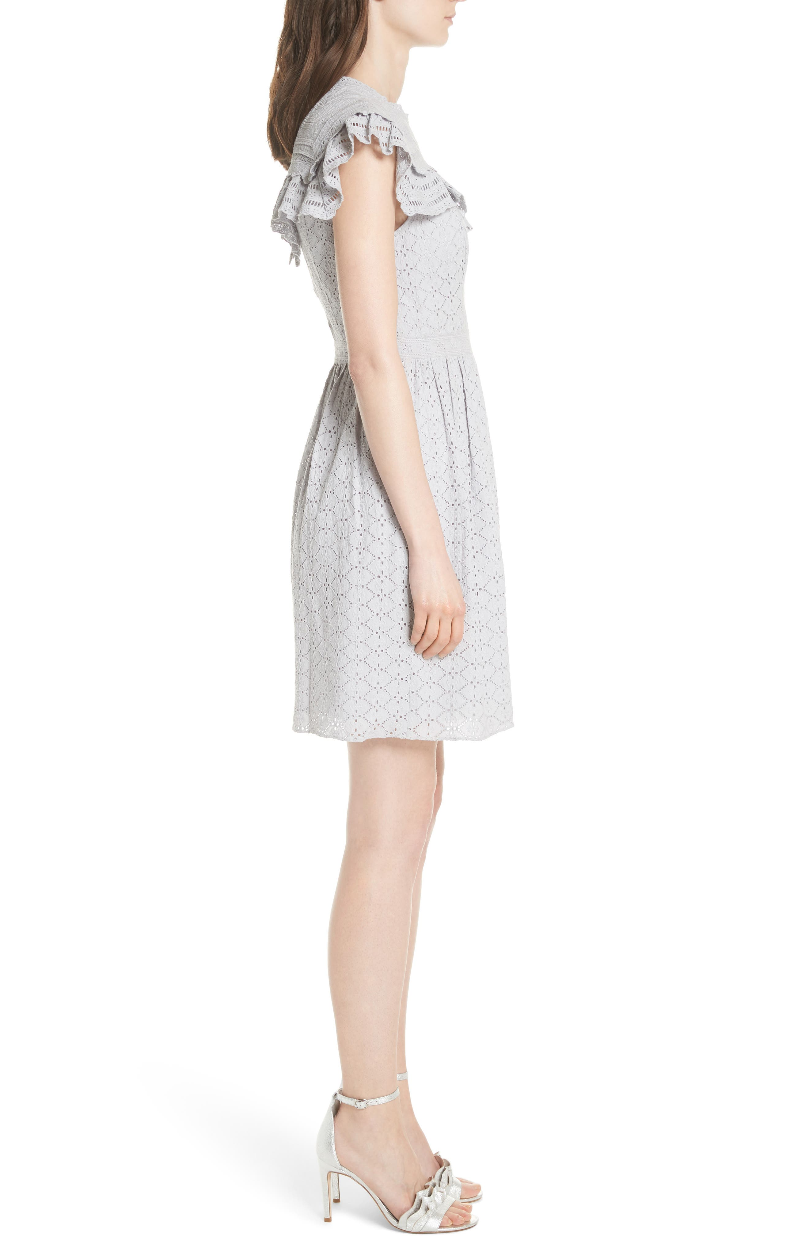 Tiled Broderie Anglaise Lace Dress,                             Alternate thumbnail 3, color,