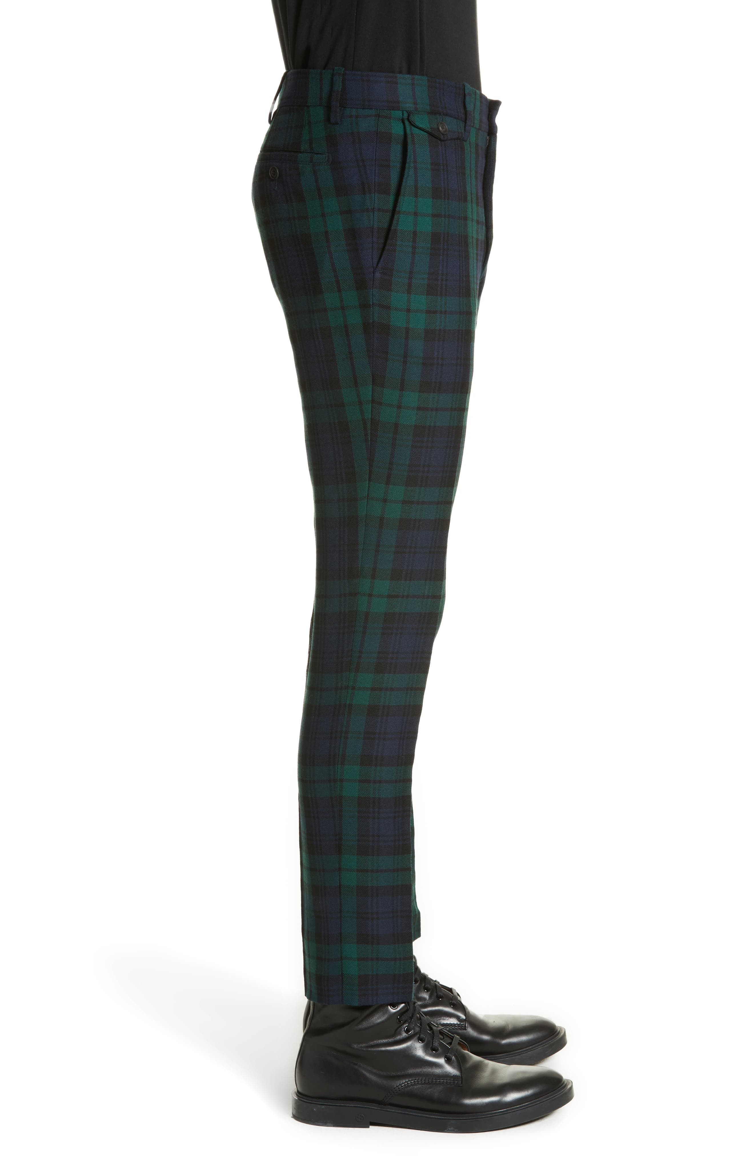 BURBERRY,                             Serpentine Check Wool Pants,                             Alternate thumbnail 3, color,                             410