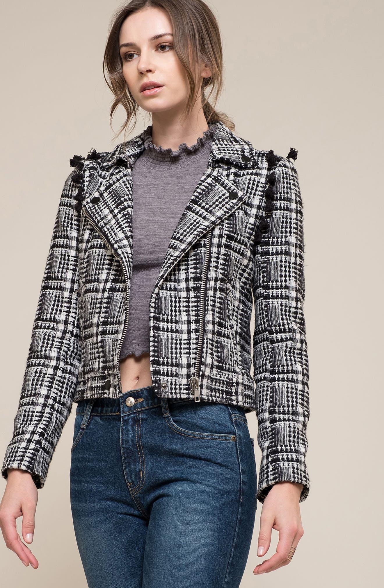 Tweed Moto Jacket,                             Alternate thumbnail 7, color,                             002