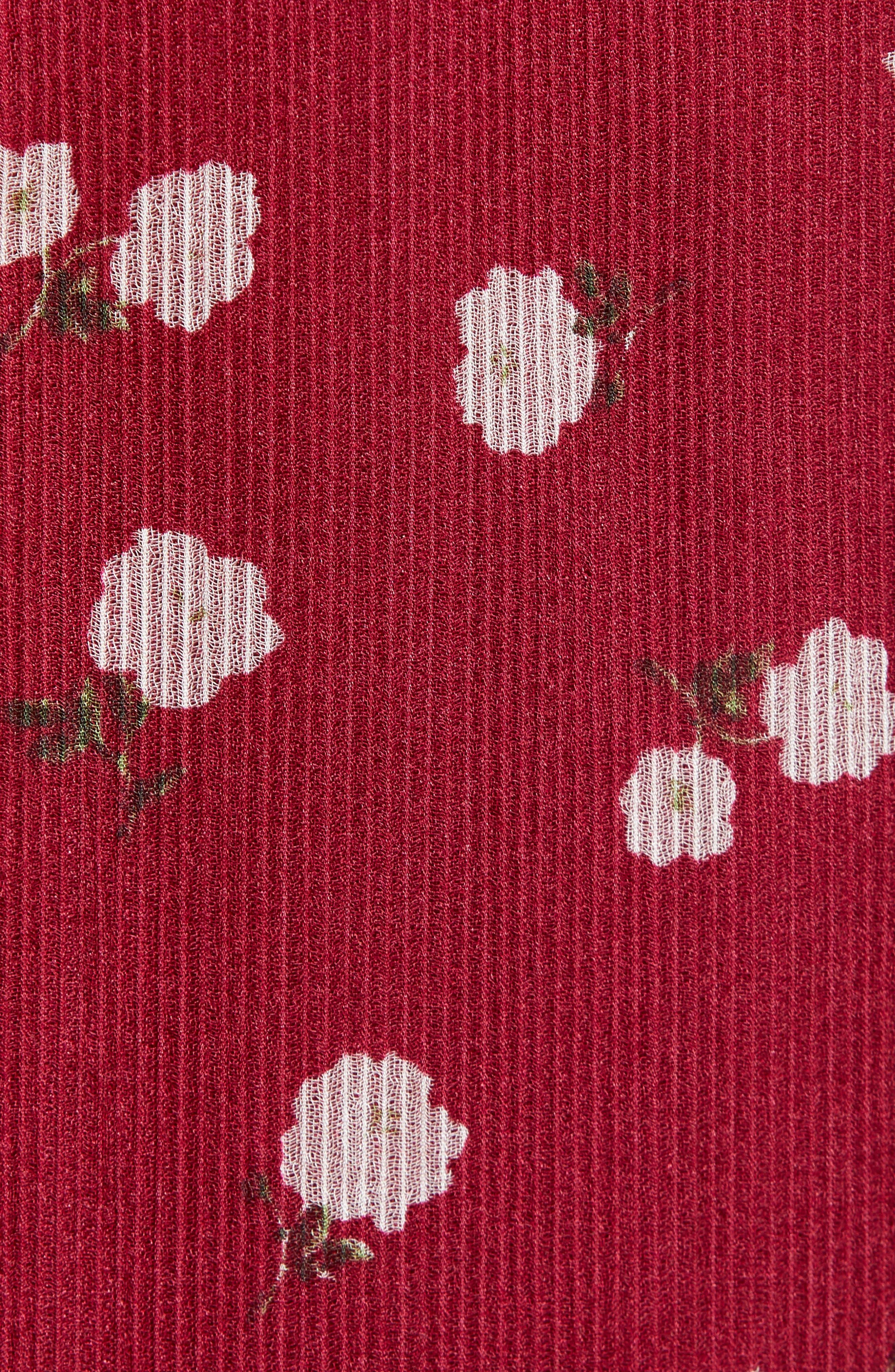 Rhoda Pleated Maxi Dress,                             Alternate thumbnail 6, color,                             BERRY MINI ROSES