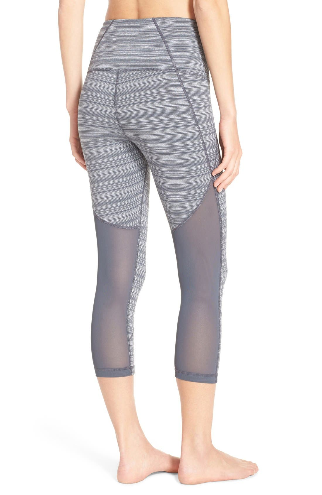 'Live In - Sultry' High Waist Mesh Crop Leggings,                             Main thumbnail 8, color,