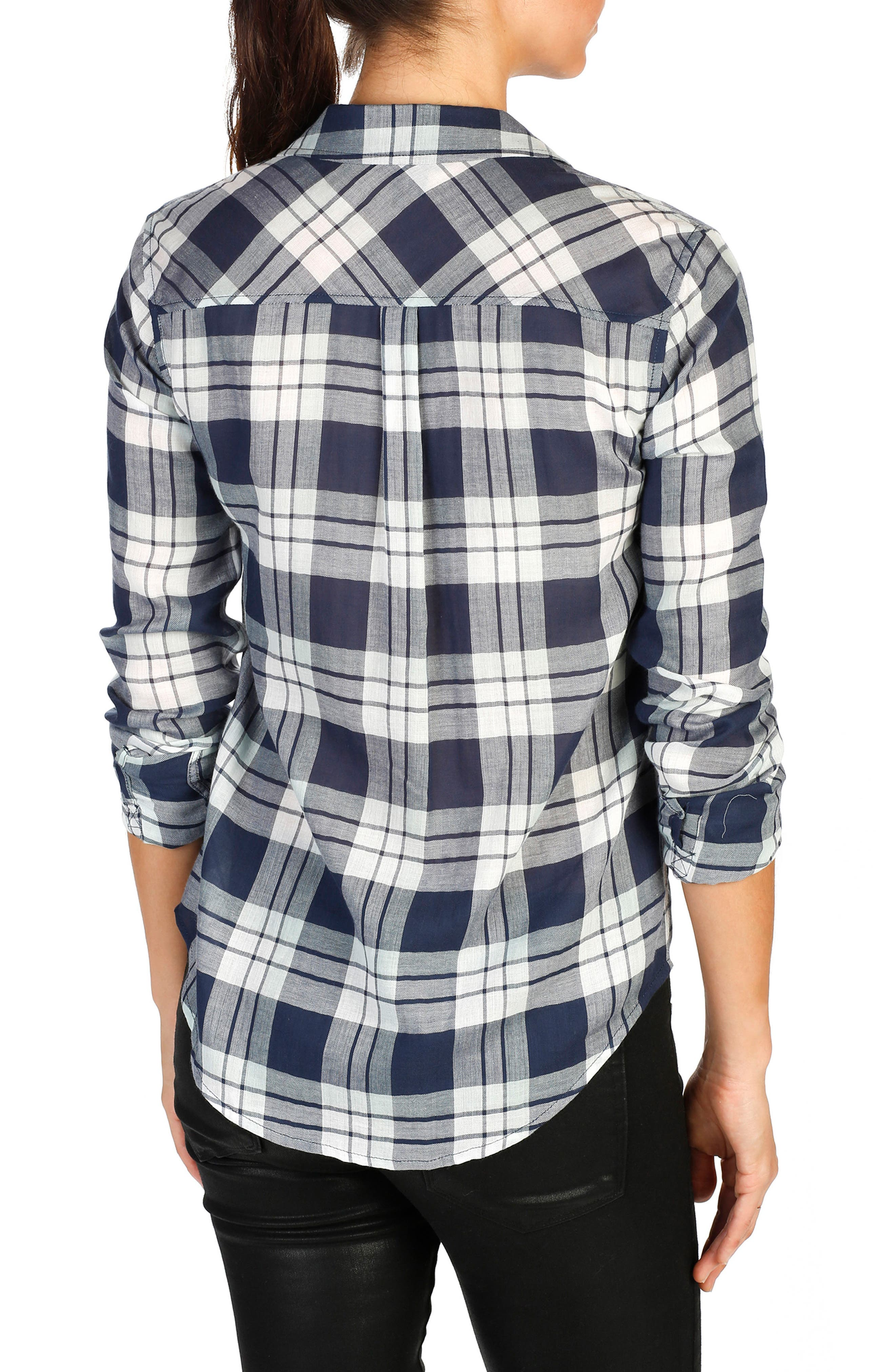 Mya Plaid Cotton Shirt,                             Alternate thumbnail 4, color,