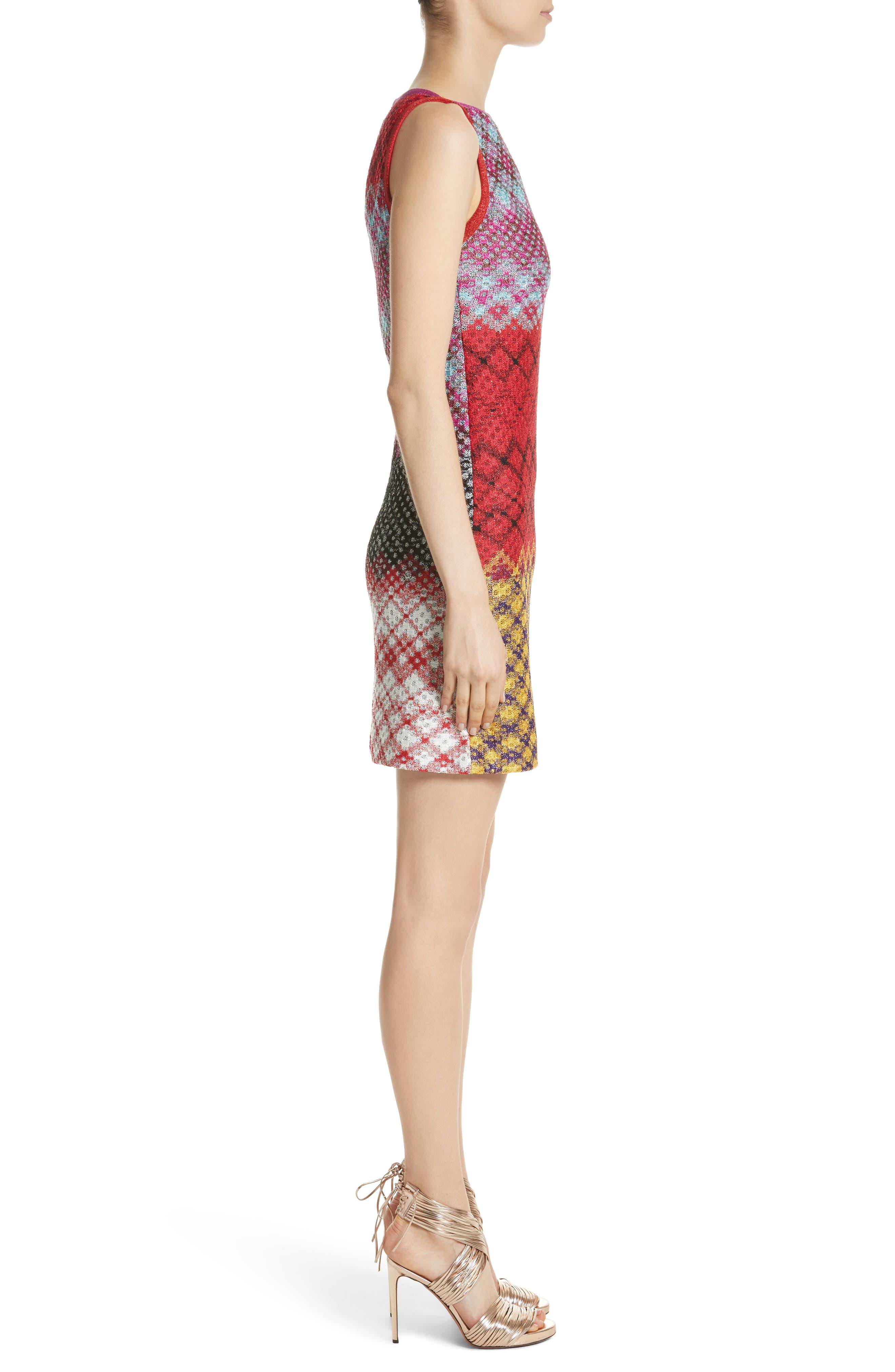 Multi Pattern Knit Dress,                             Alternate thumbnail 3, color,                             640