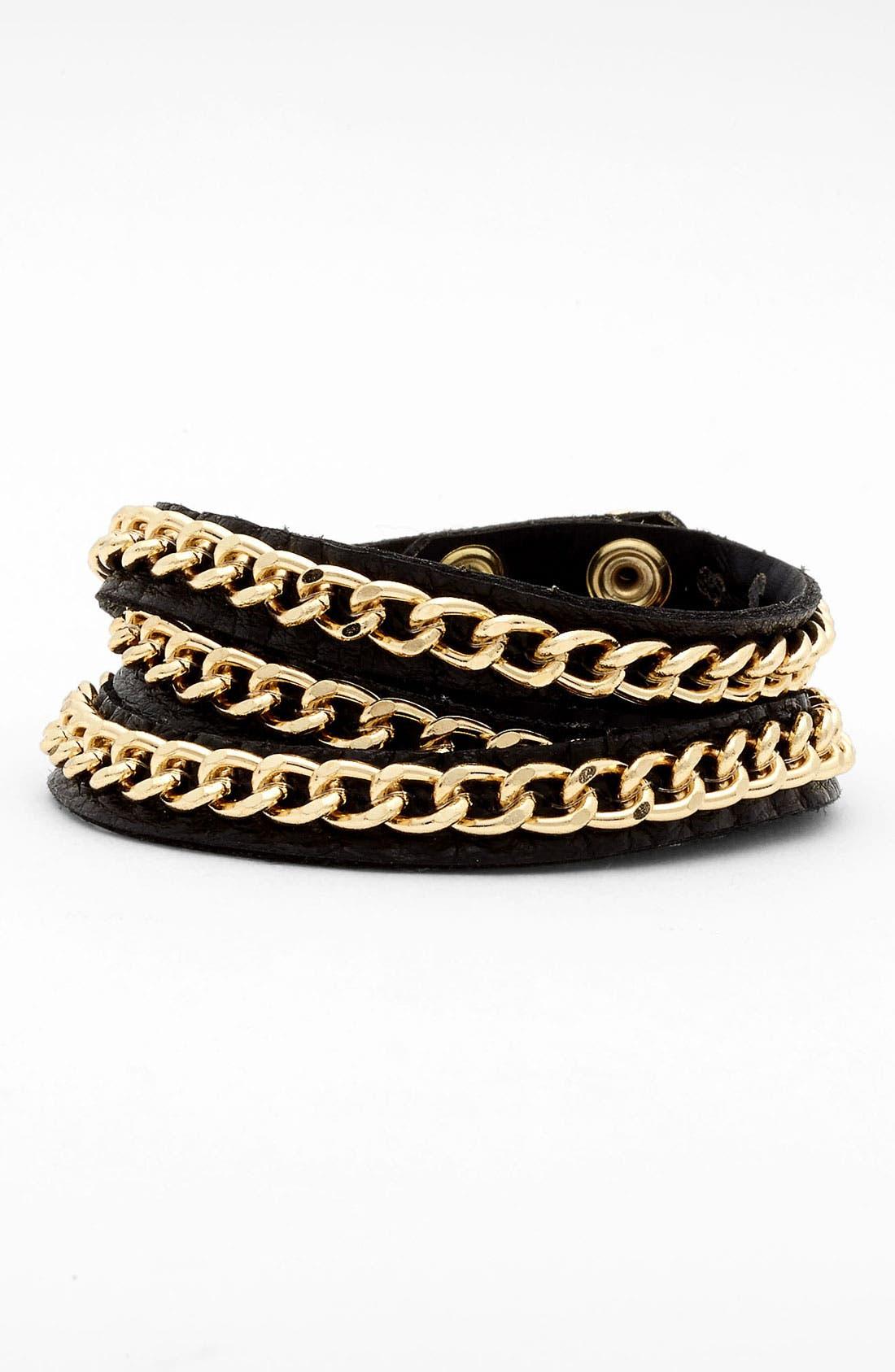 Leather Wrap Bracelet,                             Main thumbnail 1, color,                             001