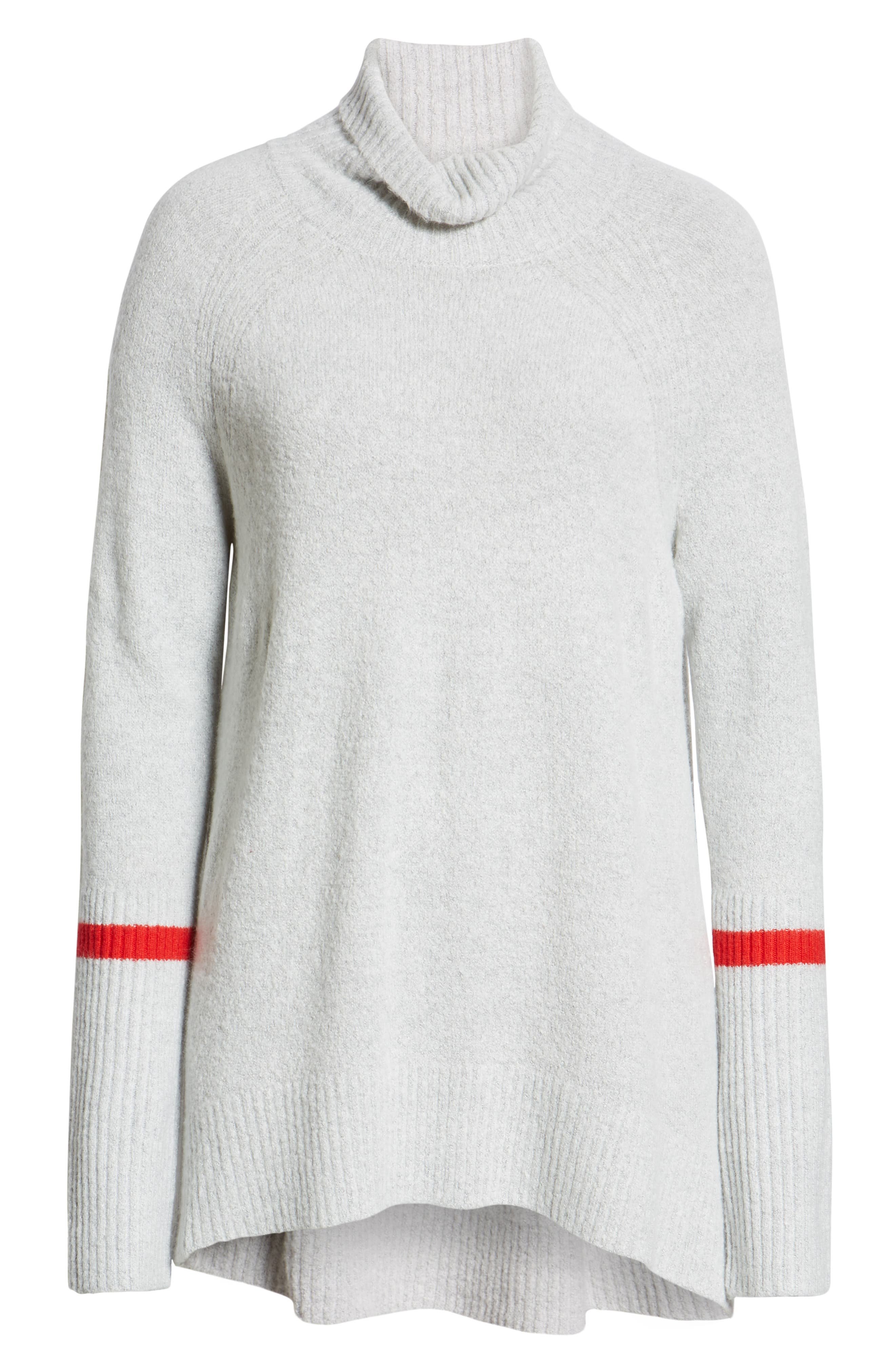 High Low Oversize Wool Blend Sweater,                             Alternate thumbnail 6, color,                             GREY HEATHER- RED