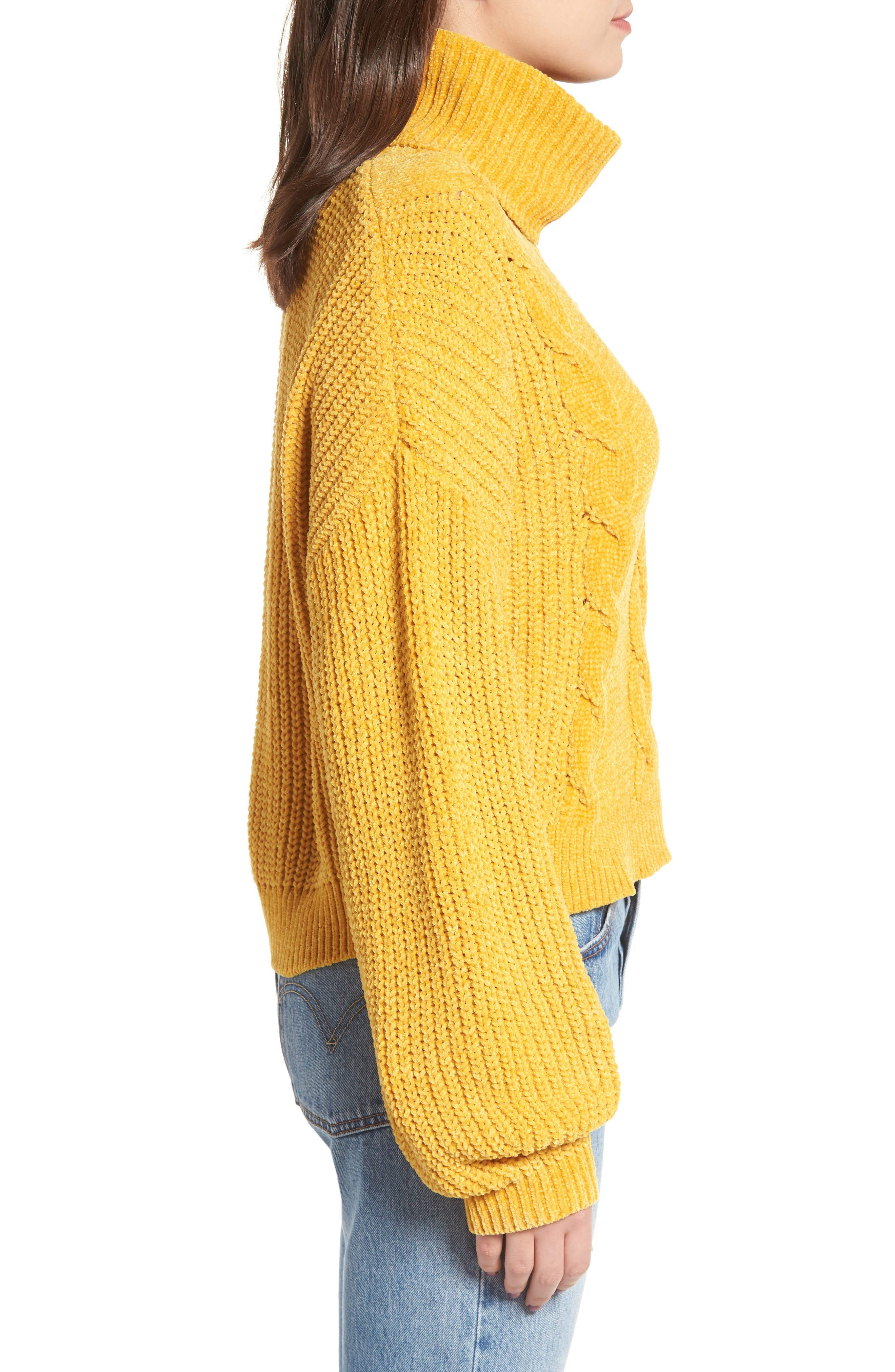 Cable Knit Chenille Sweater,                             Alternate thumbnail 3, color,                             YELLOW MINERAL