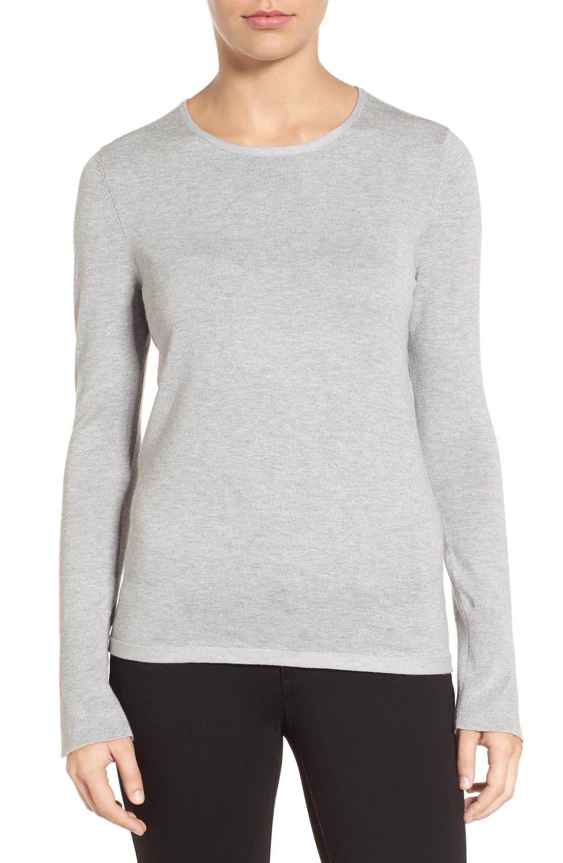 Cuff Detail Silk Blend Crewneck Sweater,                             Main thumbnail 1, color,                             030