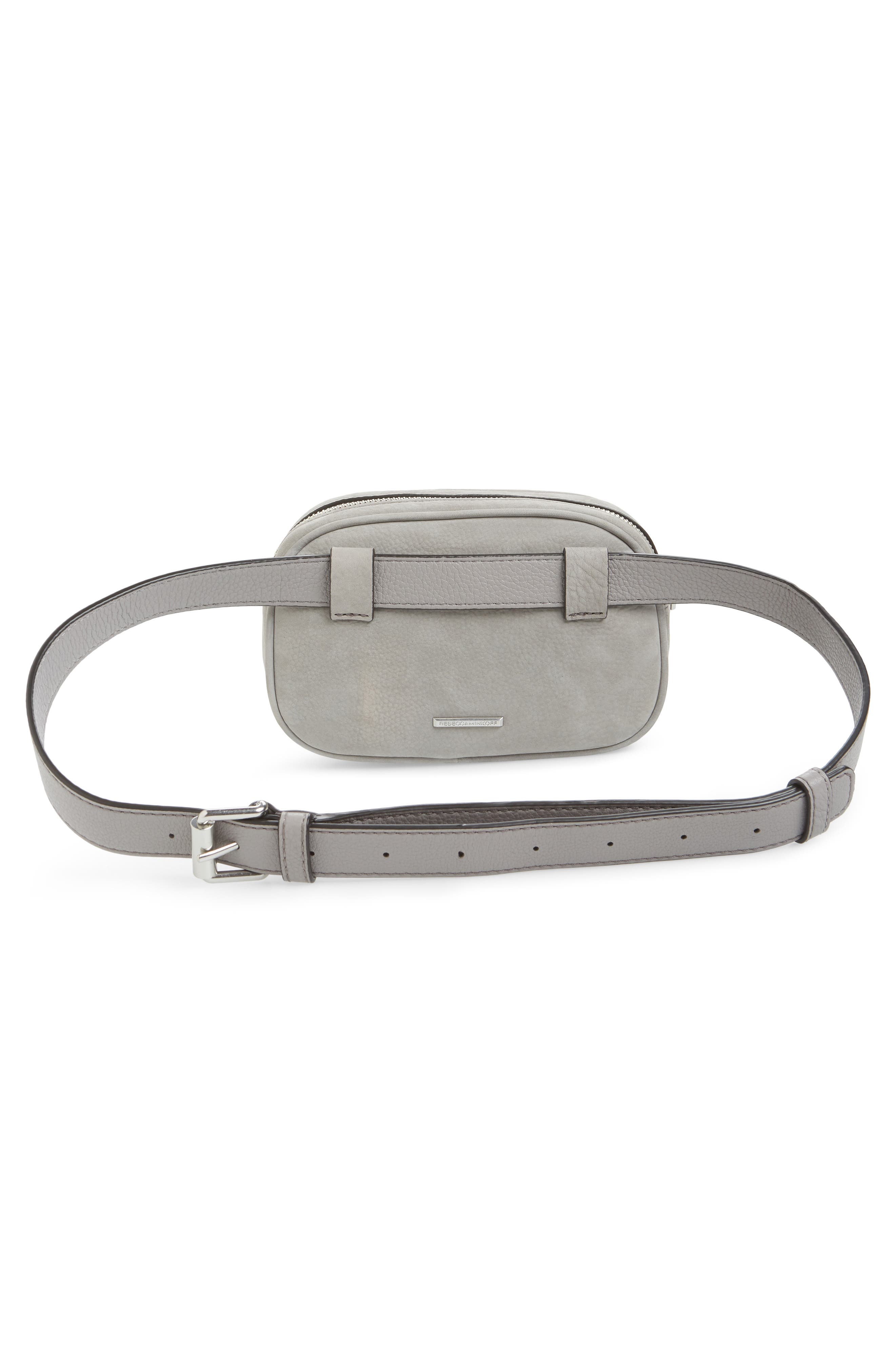 Blythe Leather Belt Bag,                             Alternate thumbnail 4, color,                             GREY