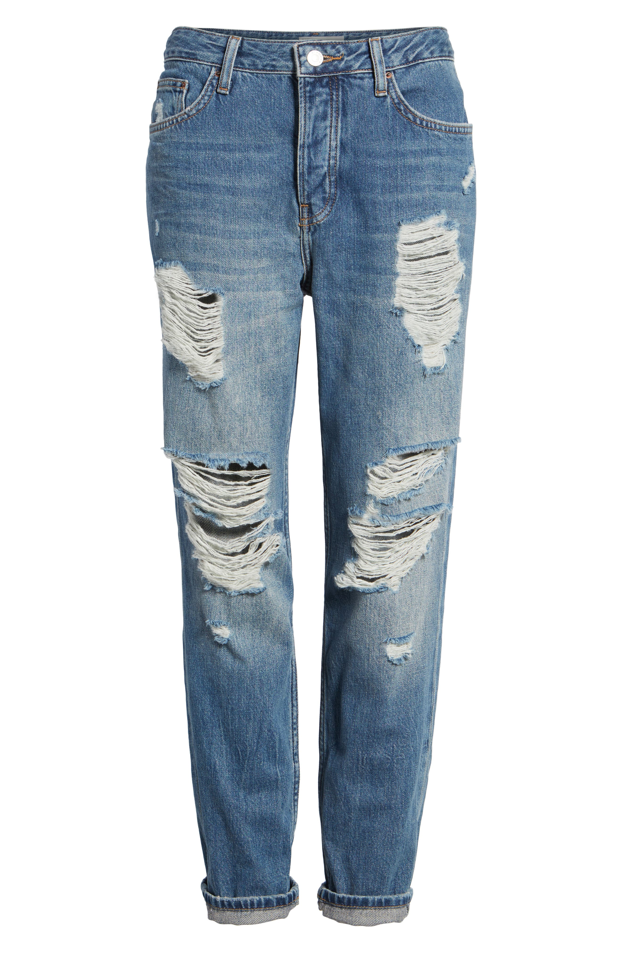 Hayden Super Ripped Boyfriend Jeans,                             Alternate thumbnail 6, color,