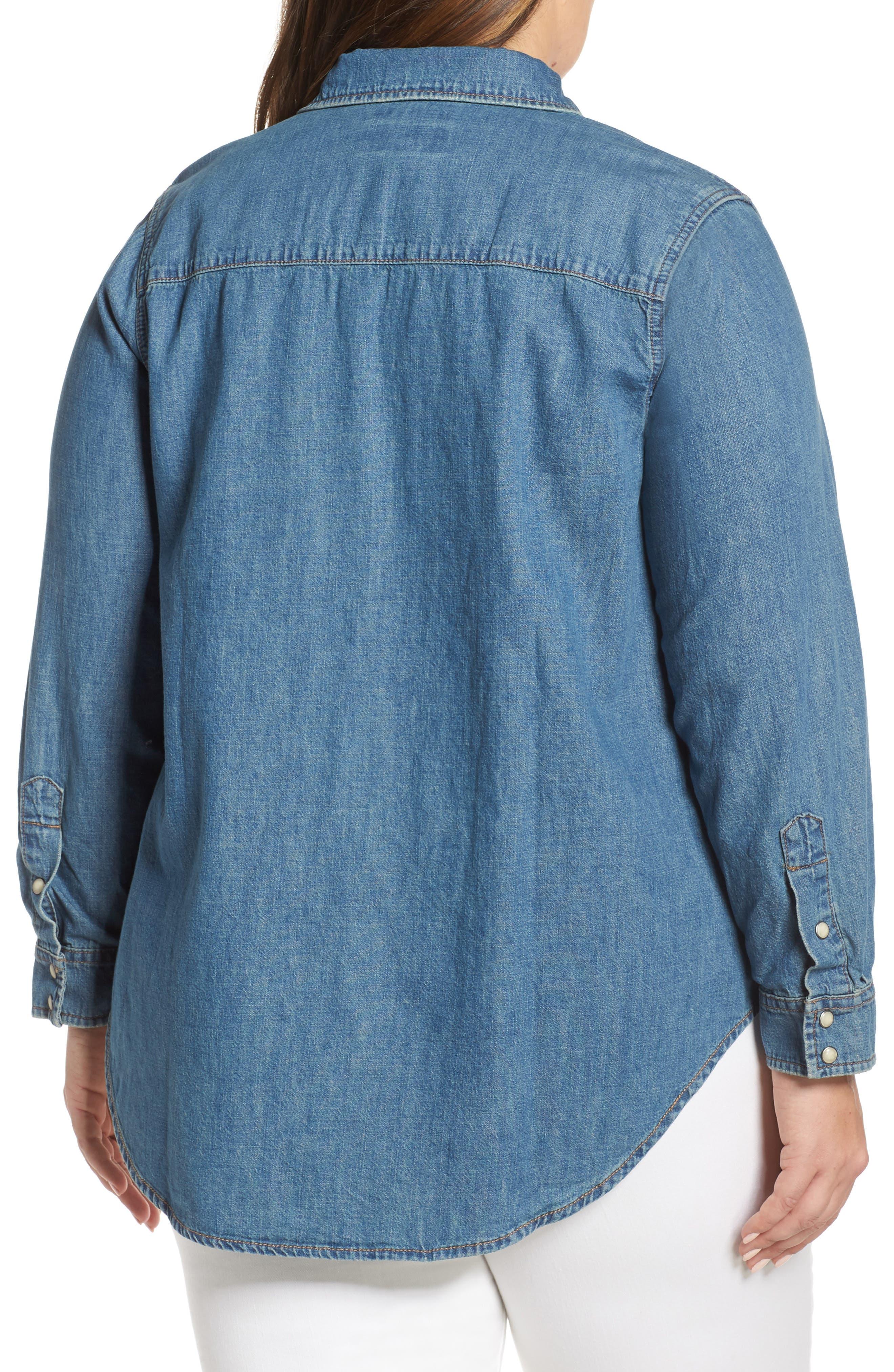 Chambray Western Shirt,                             Alternate thumbnail 2, color,                             CLAY