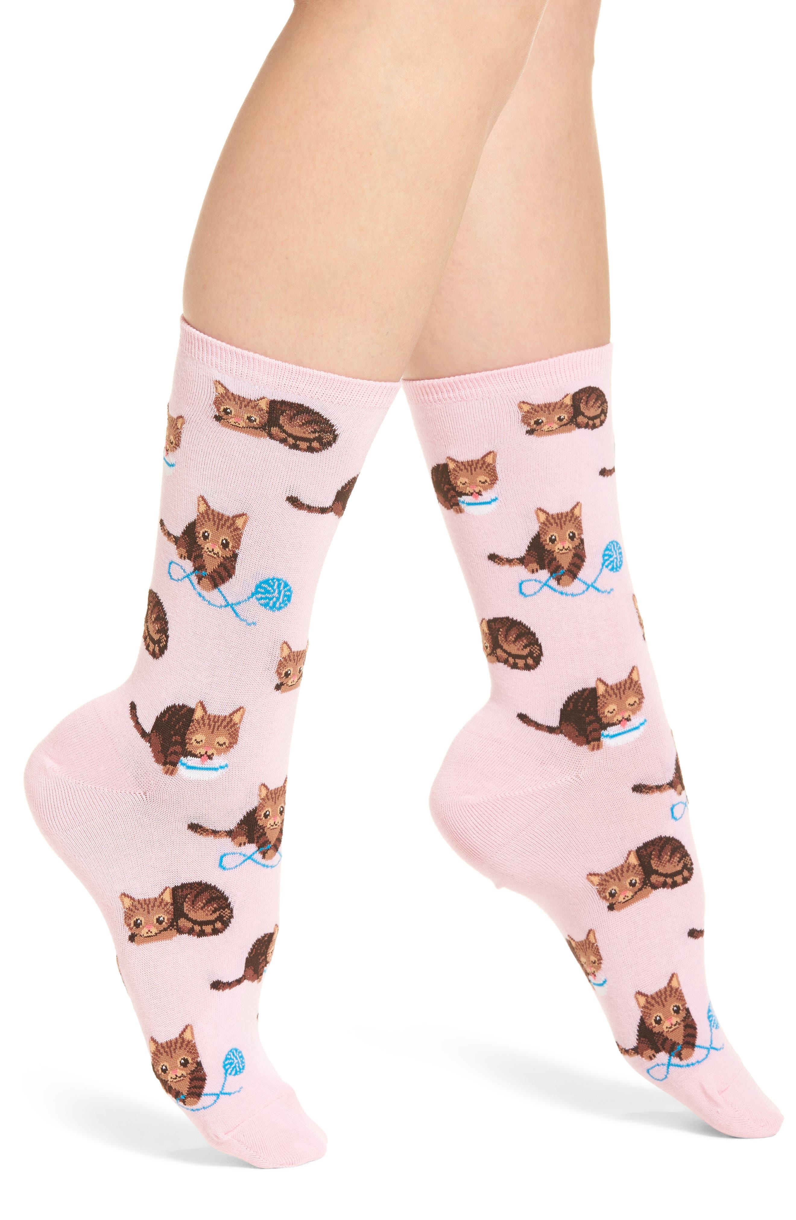 Cat & Yarn Crew Socks,                             Main thumbnail 2, color,
