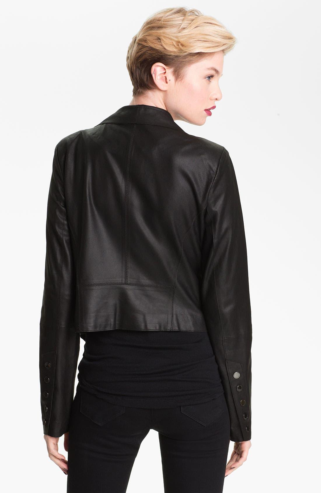 Drape Collar Leather Jacket,                             Alternate thumbnail 4, color,                             001