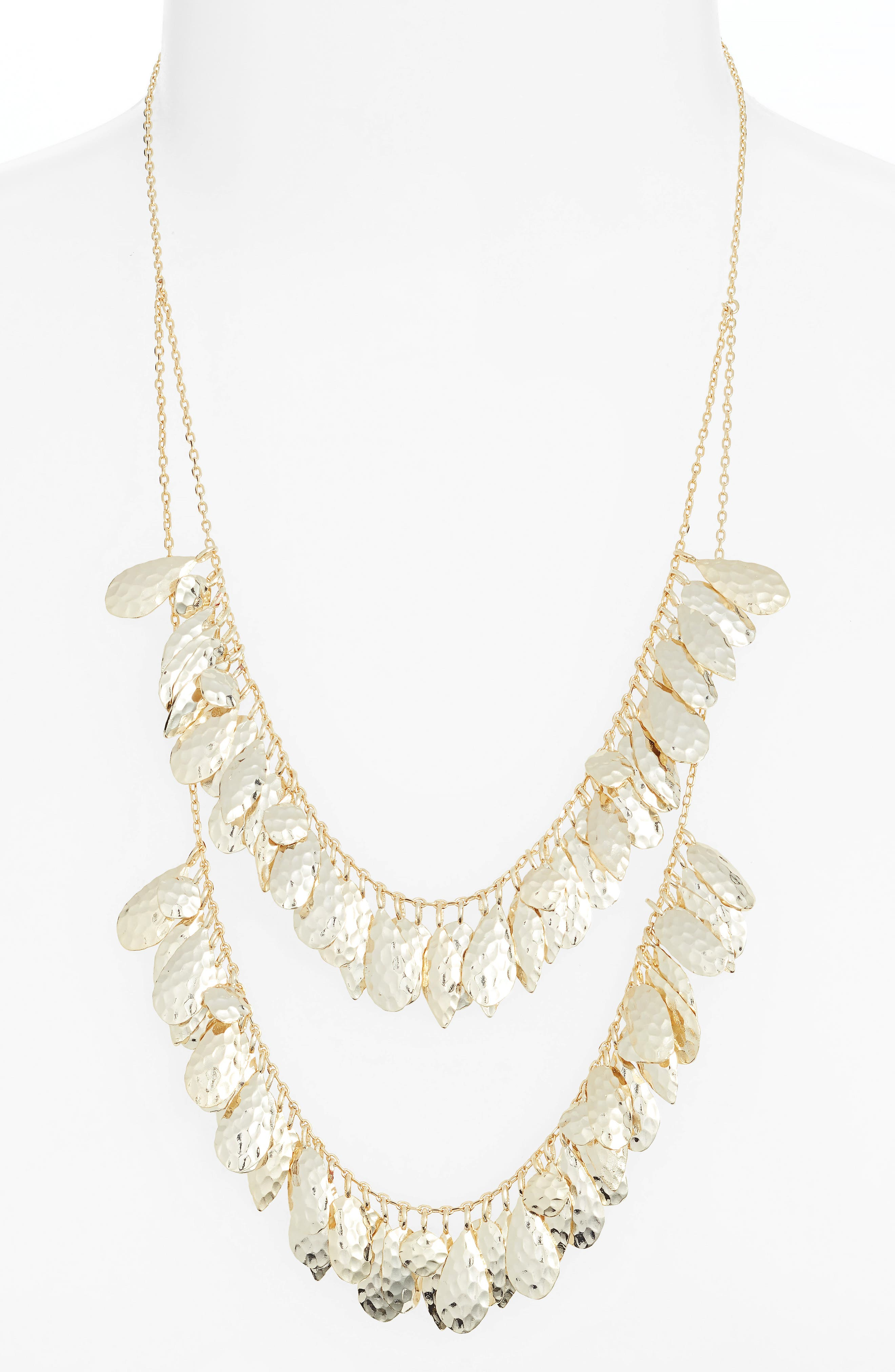 Evelyn Layered Bib Necklace, Main, color, GOLD