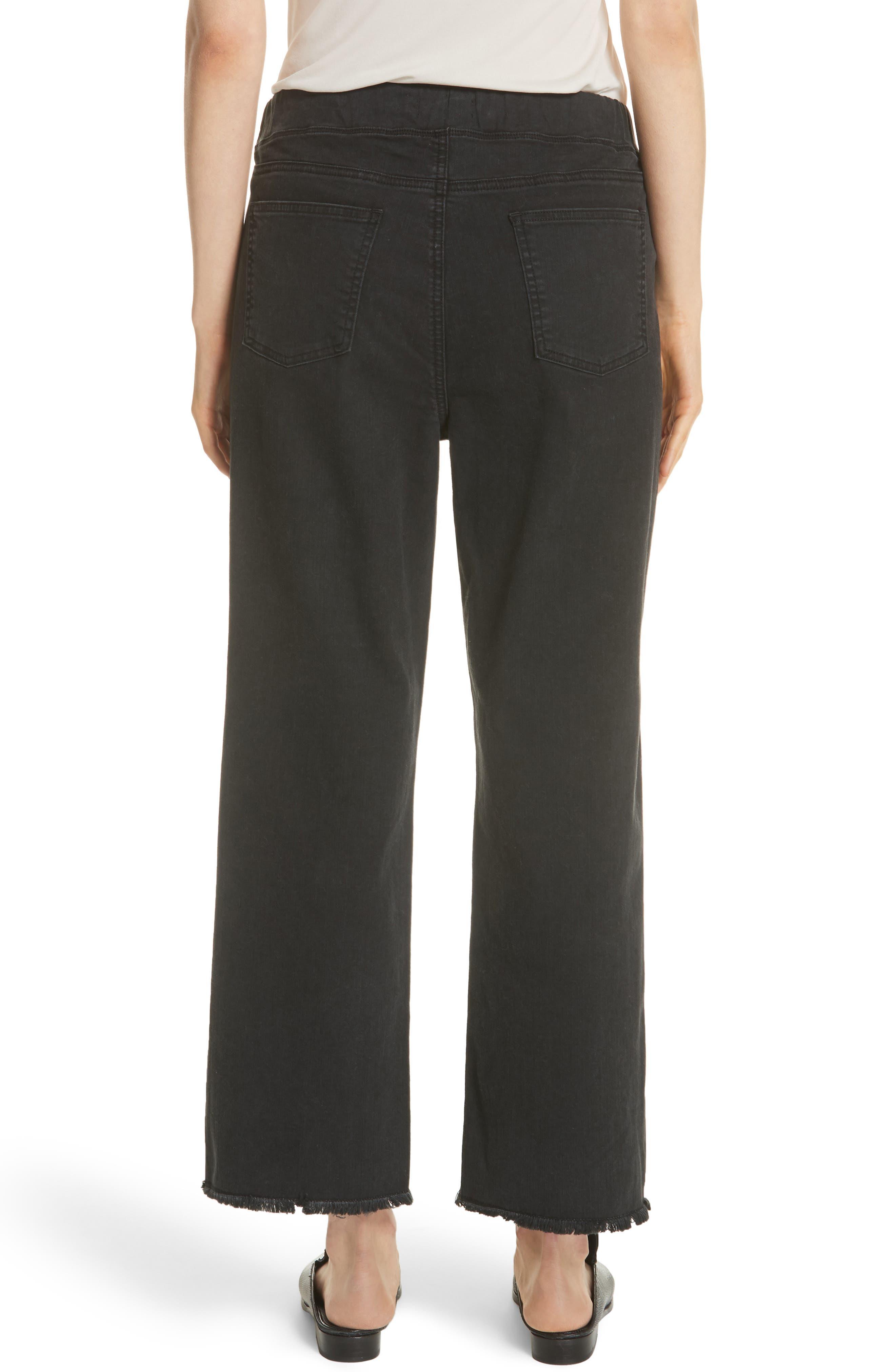 Frayed Hem Pull-On Ankle Jeans,                             Alternate thumbnail 2, color,                             WASHED BLACK