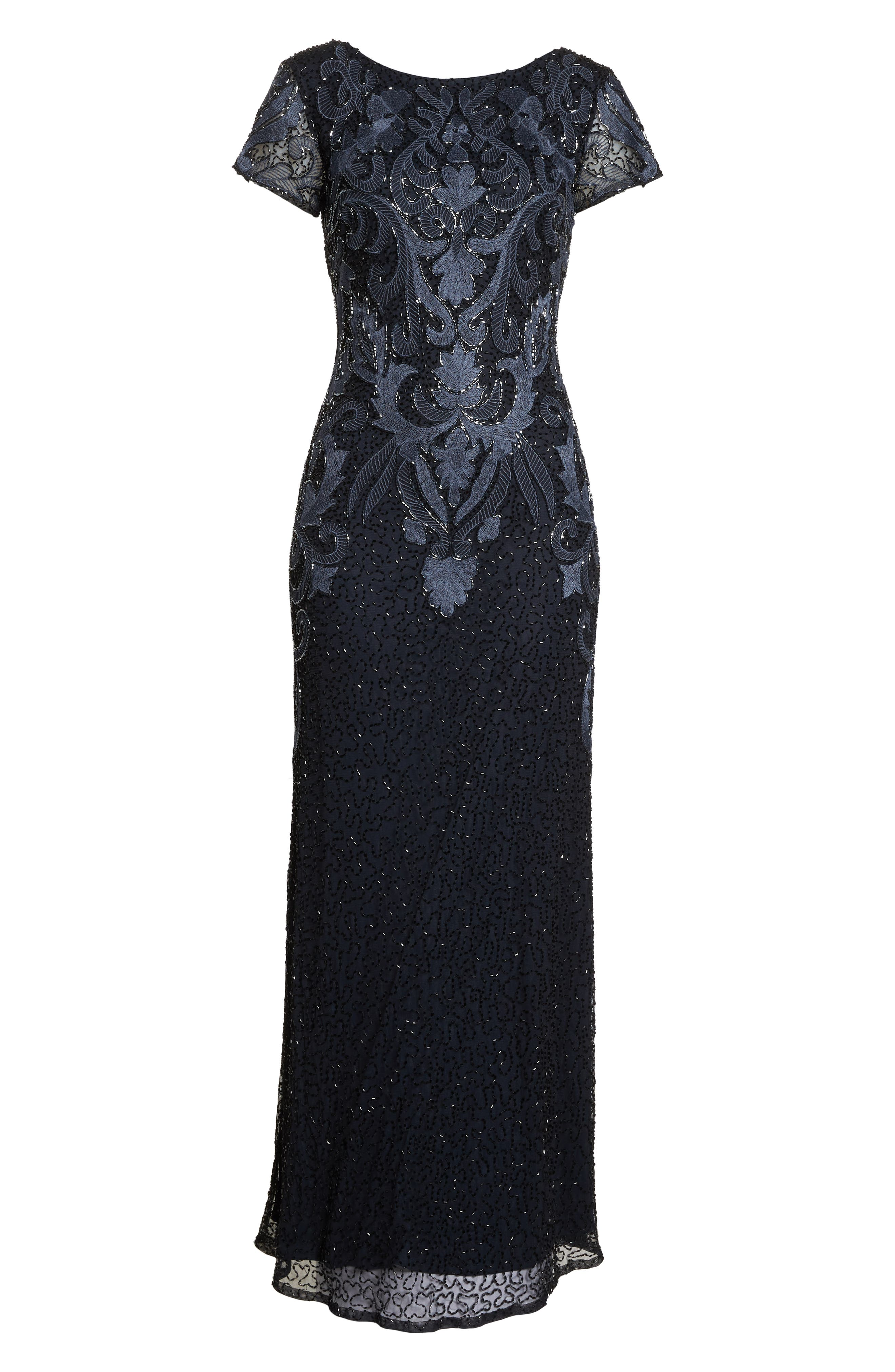 PISARRO NIGHTS,                             Embroidered Mesh Gown,                             Alternate thumbnail 8, color,                             001