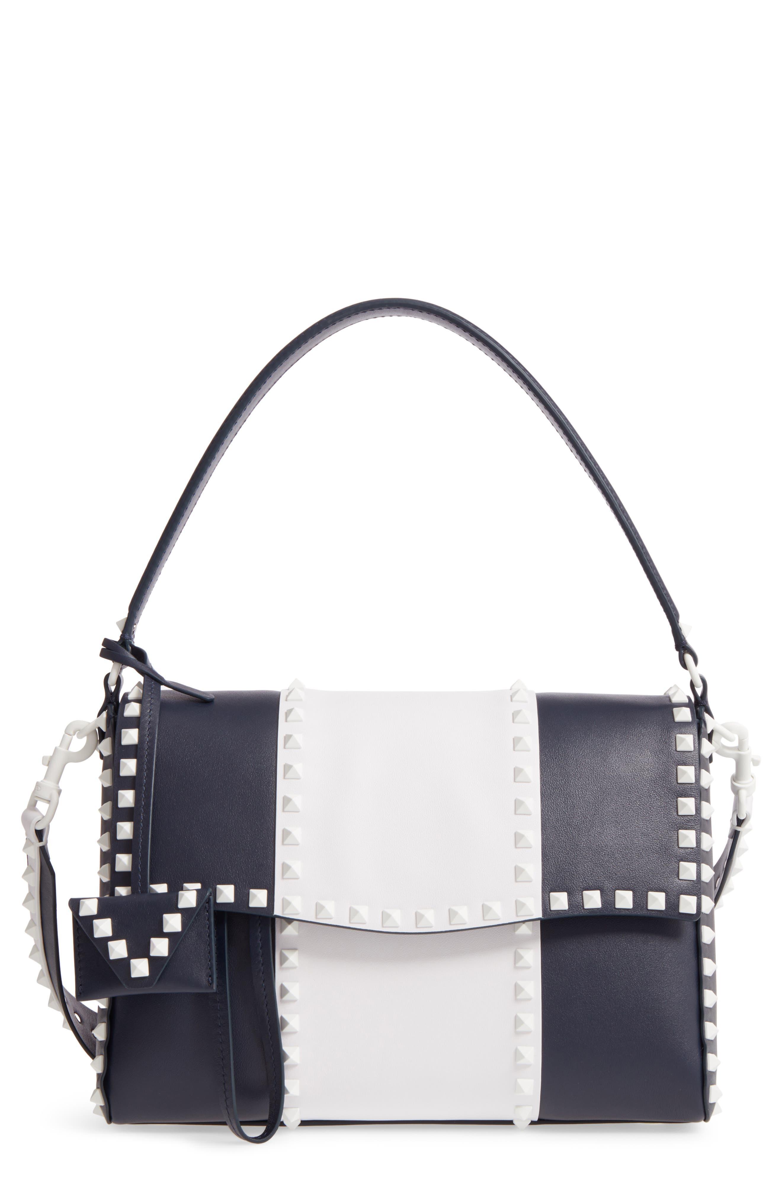 Rockstud Calfskin Top Handle Bag,                         Main,                         color, 400