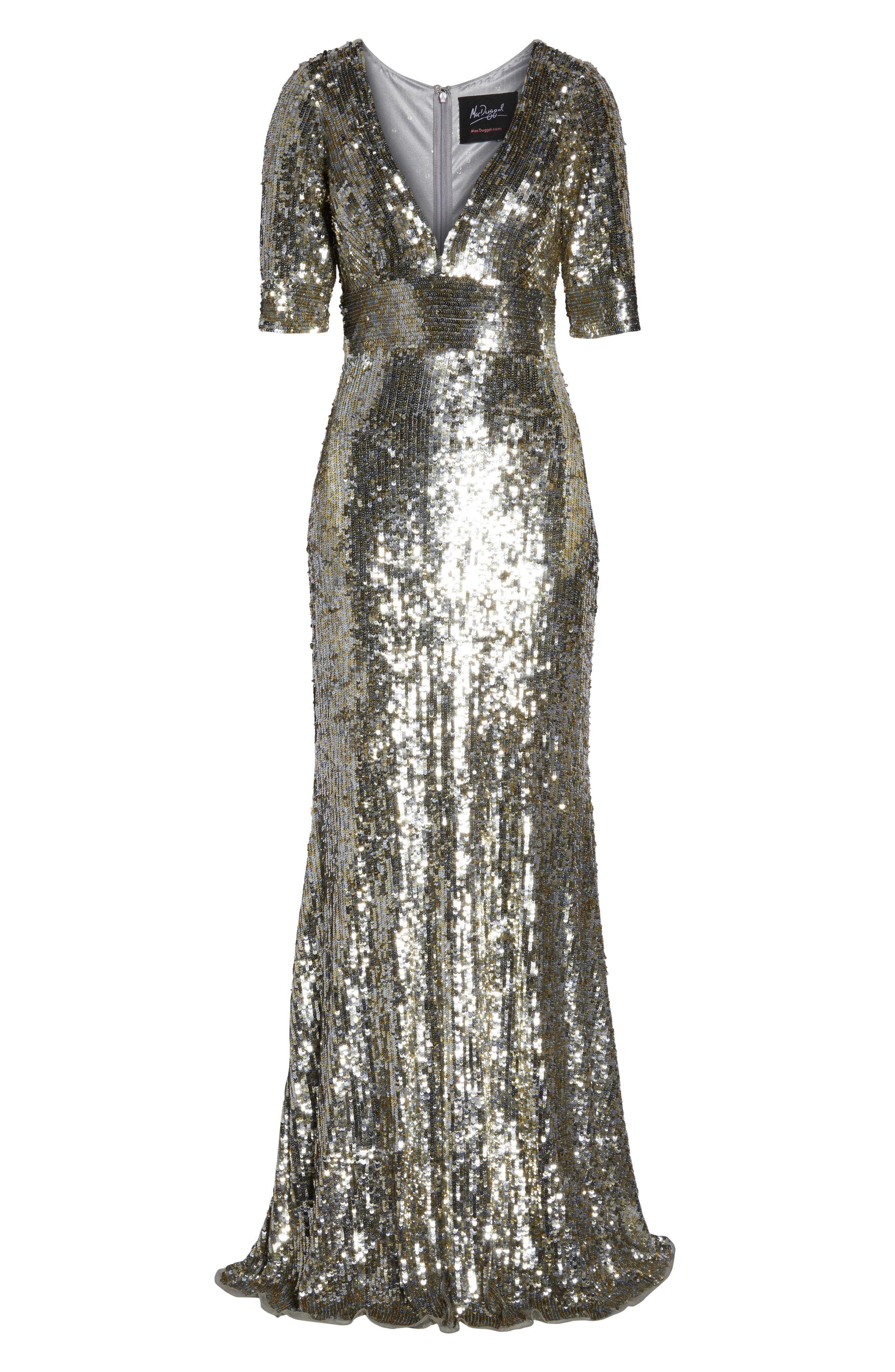 MAC DUGGAL,                             Sequin Stripe Evening Dress,                             Alternate thumbnail 7, color,                             PLATINUM