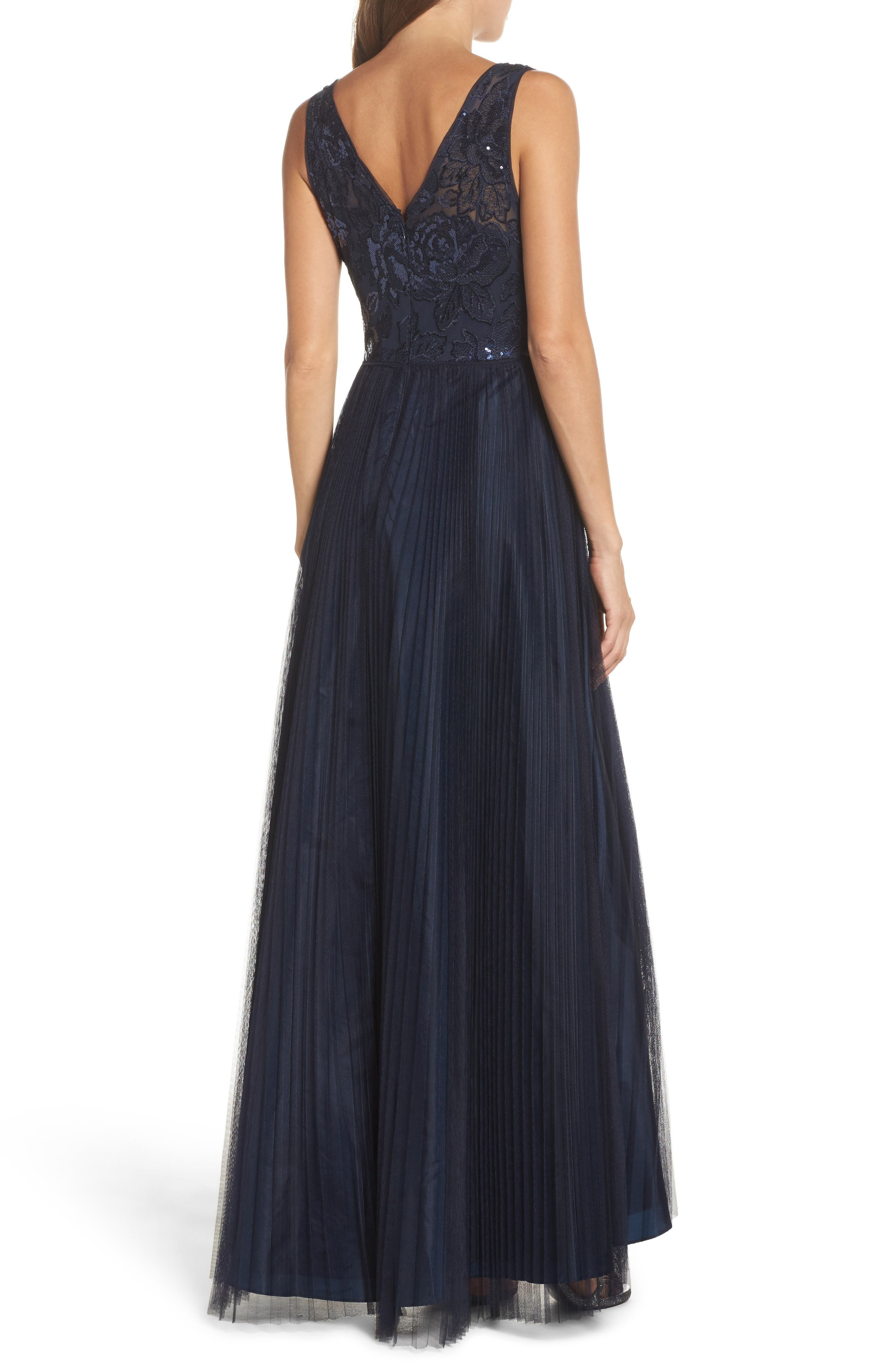 Sequin Pleated Tulle High/Low Gown,                             Alternate thumbnail 2, color,                             411