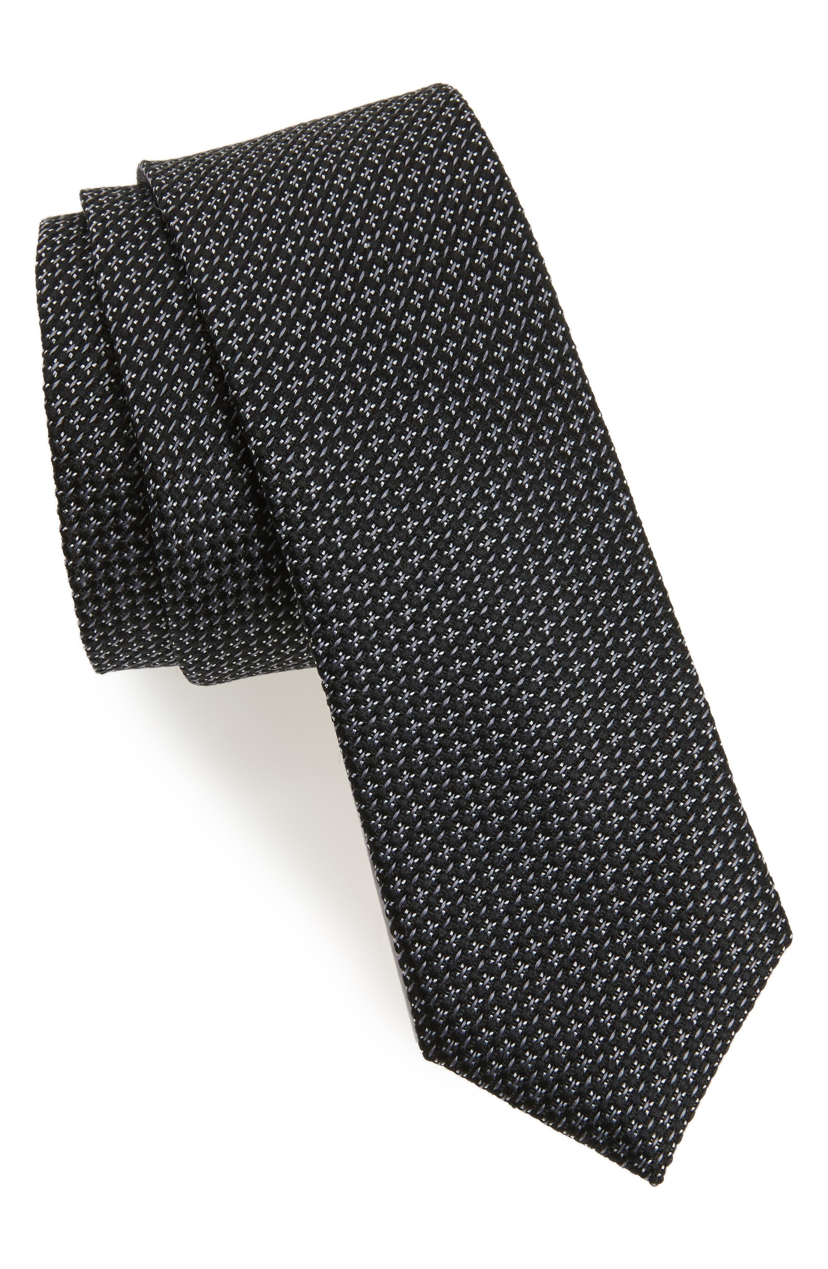 Knitex Solid Silk Tie,                         Main,                         color, 001