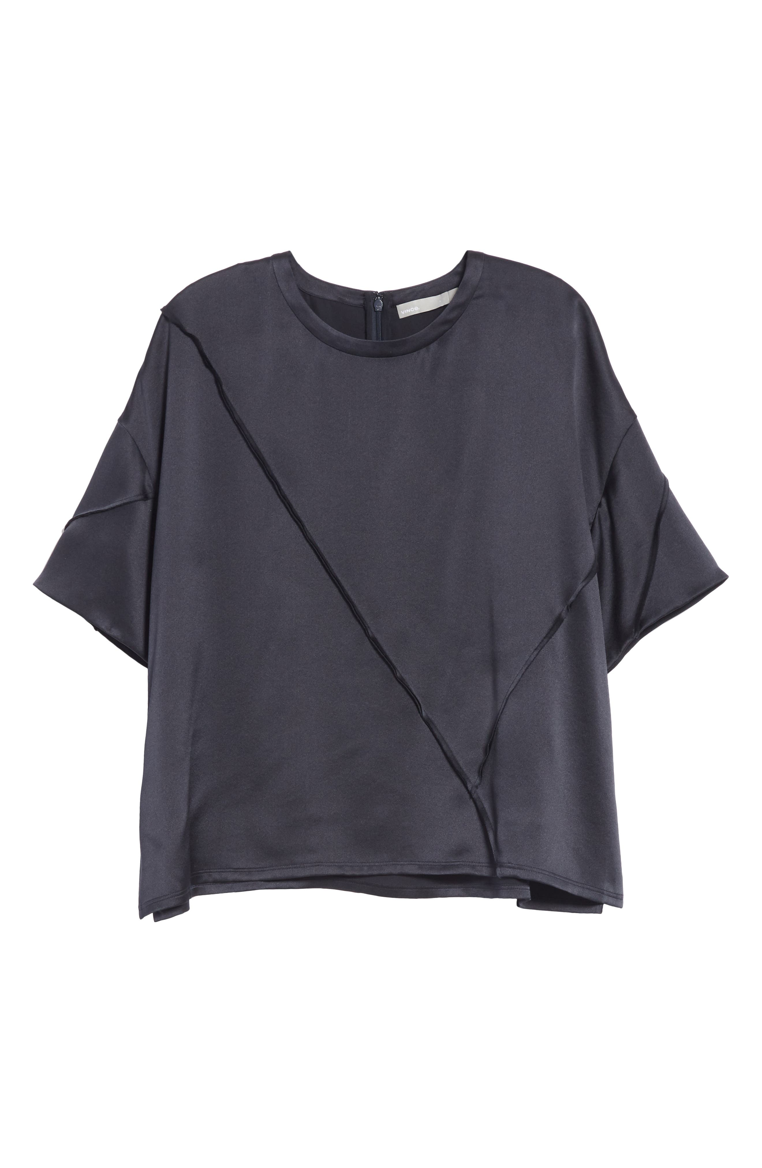 Raw Edge Silk Tee,                             Alternate thumbnail 6, color,                             IRON
