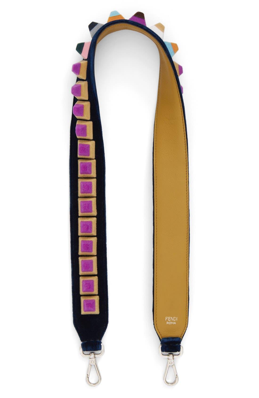 Studded Velvet Guitar Bag Strap,                             Main thumbnail 1, color,                             NAVY BLUE/ MUSTARD/ MULTICOLOR
