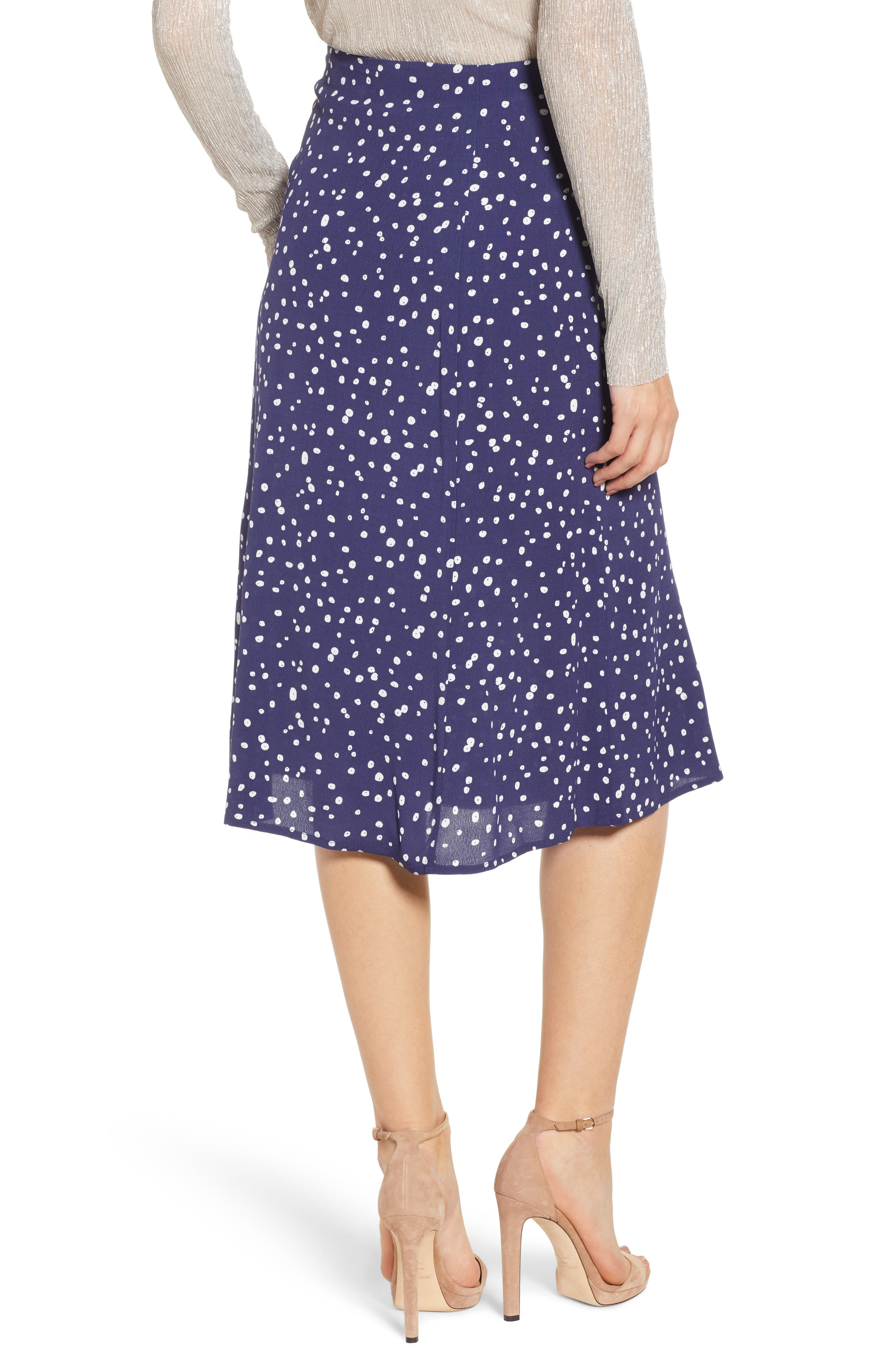 LEITH,                             High Waist Print Midi Skirt,                             Alternate thumbnail 2, color,                             NAVY PEACOAT BUTTON DOTS