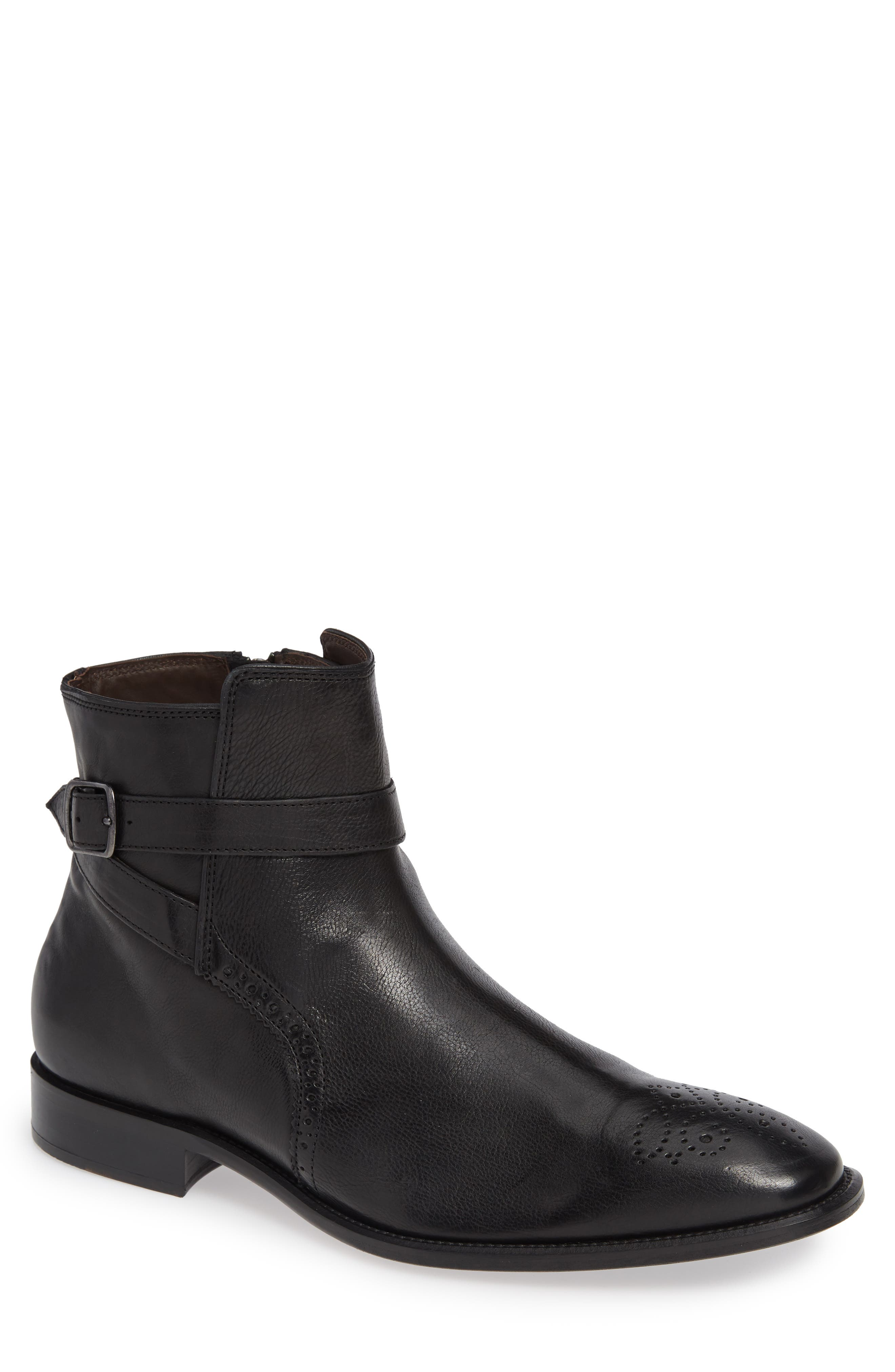 Maxwell Zip Boot,                             Main thumbnail 1, color,                             BLACK LEATHER