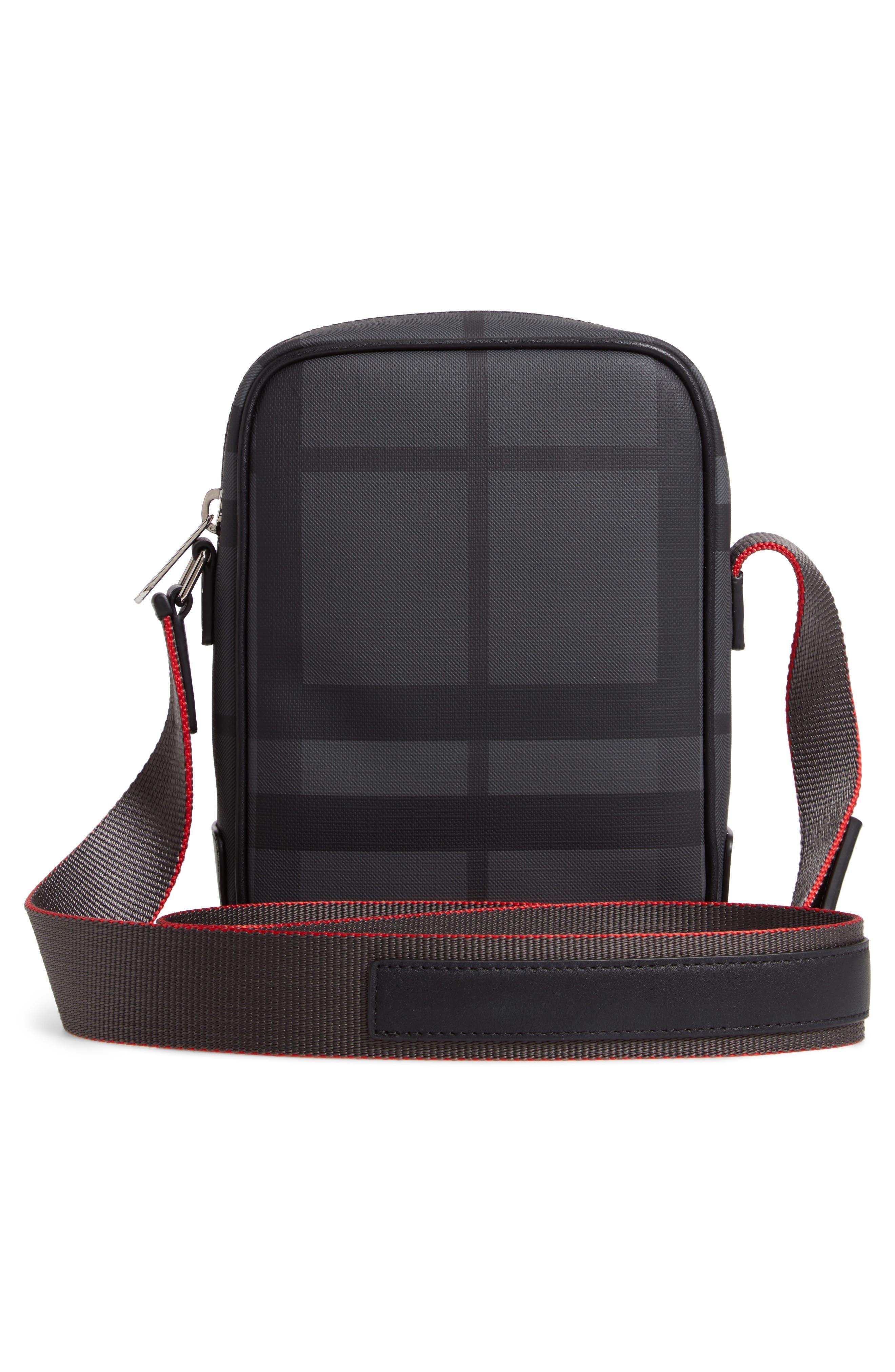 Freddie London Check Compact Messenger Bag,                             Alternate thumbnail 3, color,                             CHARCOAL BLACK