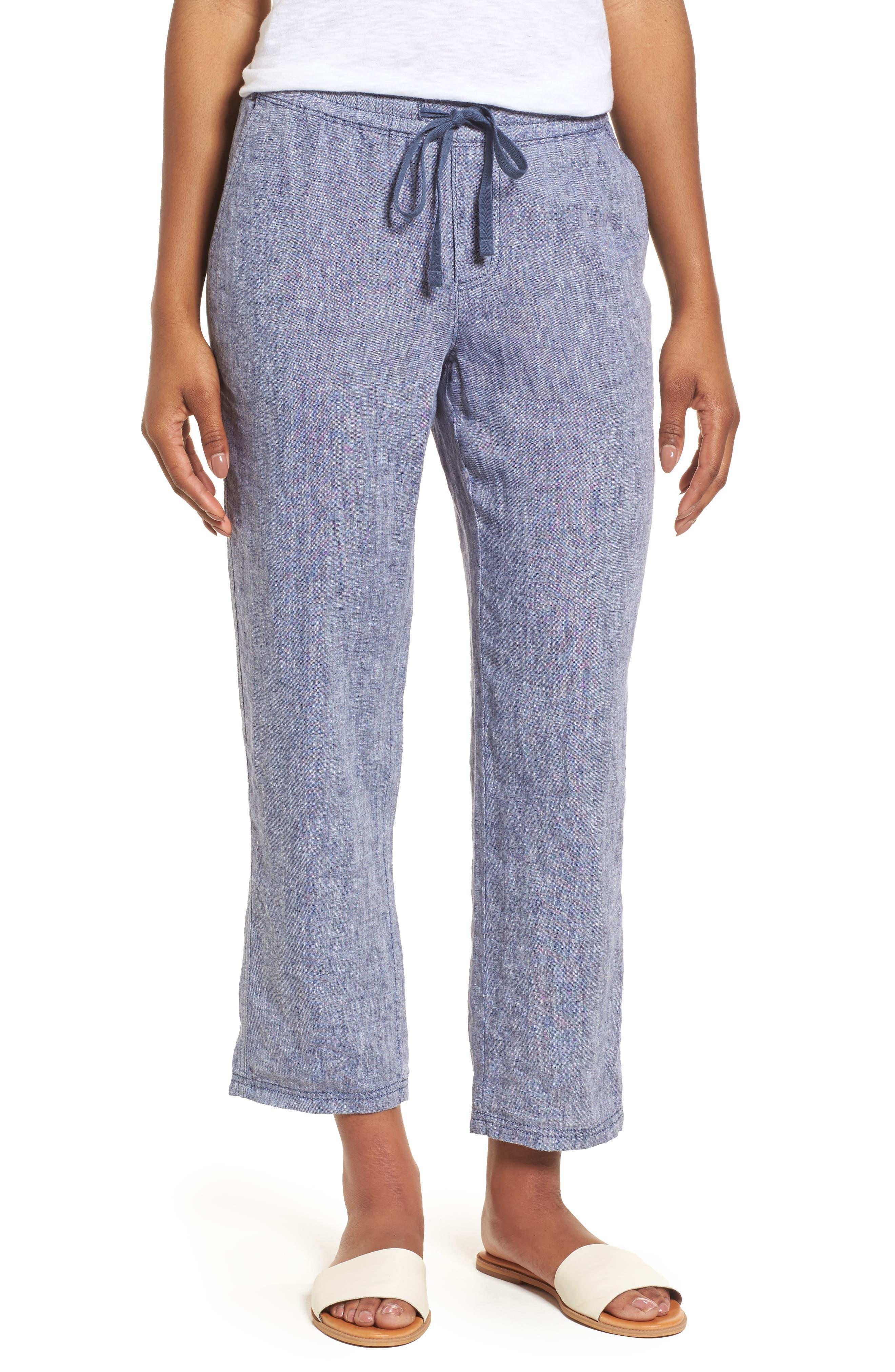 Linen Crop Pants,                         Main,                         color,