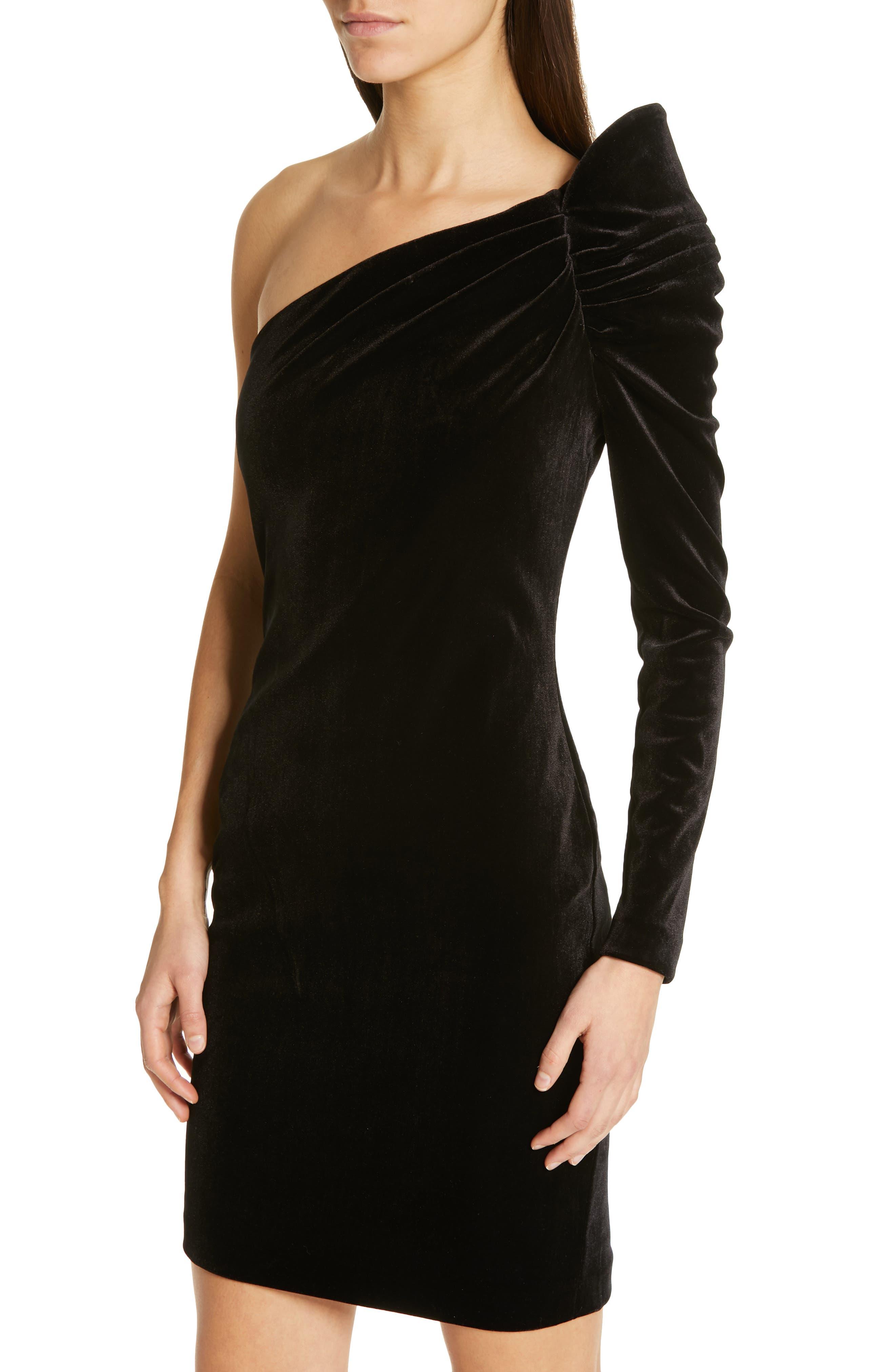 Awwtum One-Shoulder Velvet Body-Con Dress,                             Alternate thumbnail 4, color,                             BLACK