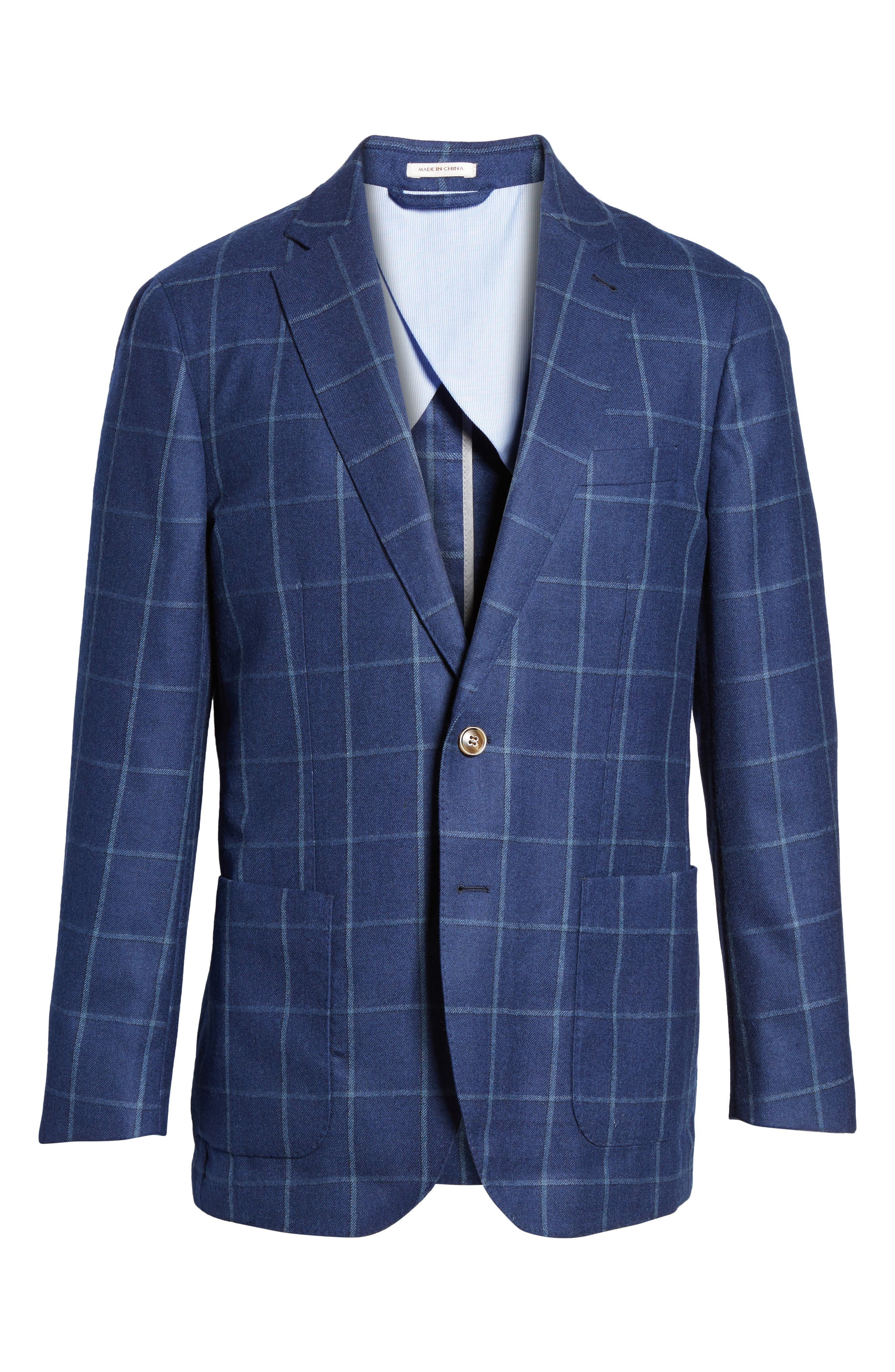 Windowpane Wool Blazer,                             Alternate thumbnail 5, color,