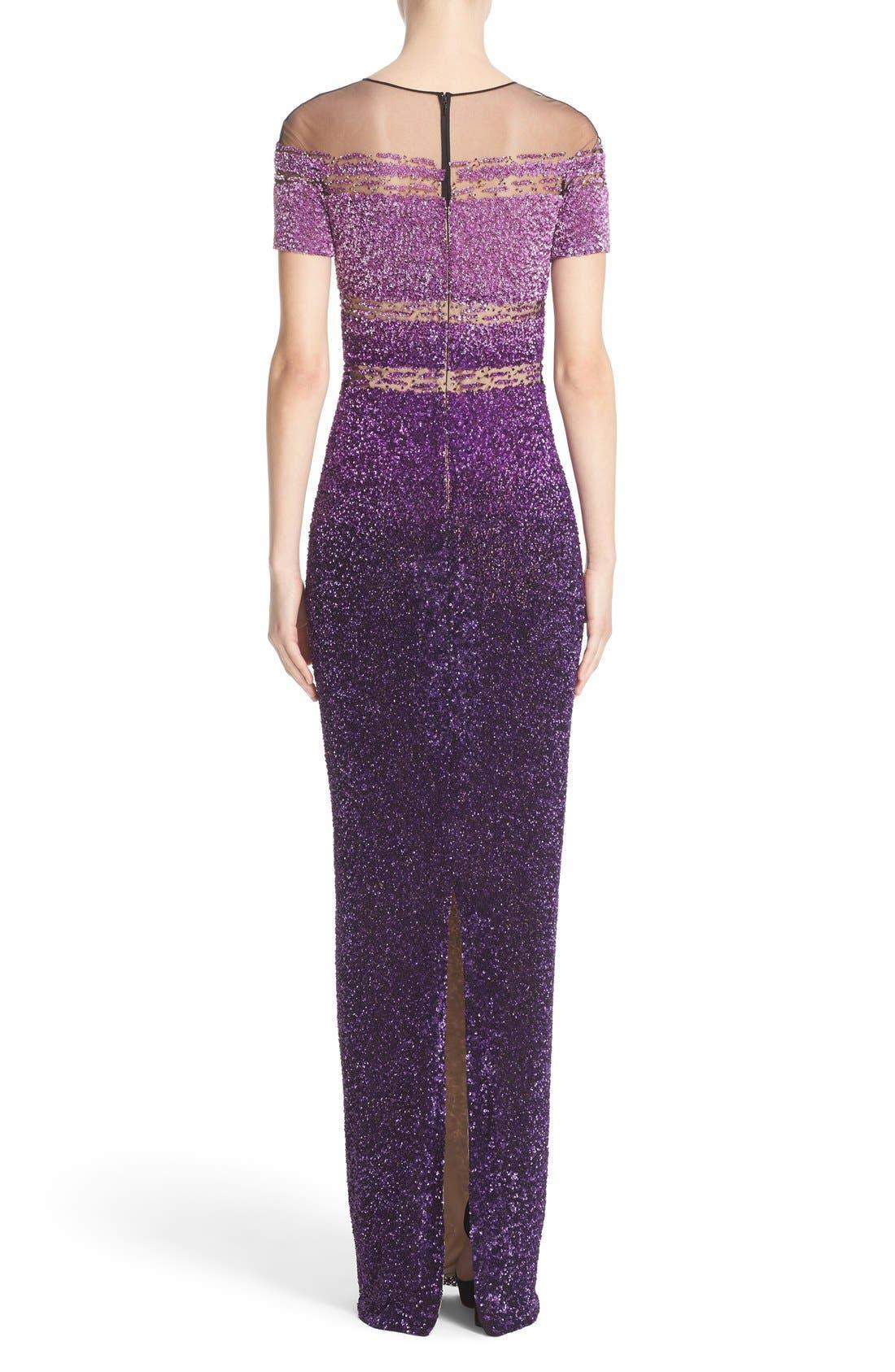 Signature Sequin Short Sleeve Column Gown,                             Alternate thumbnail 2, color,
