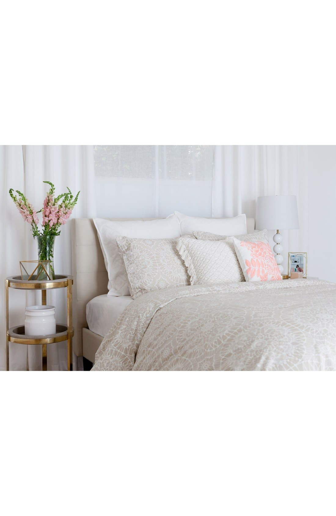 'Lace Medallion' Duvet Cover,                             Alternate thumbnail 3, color,                             250