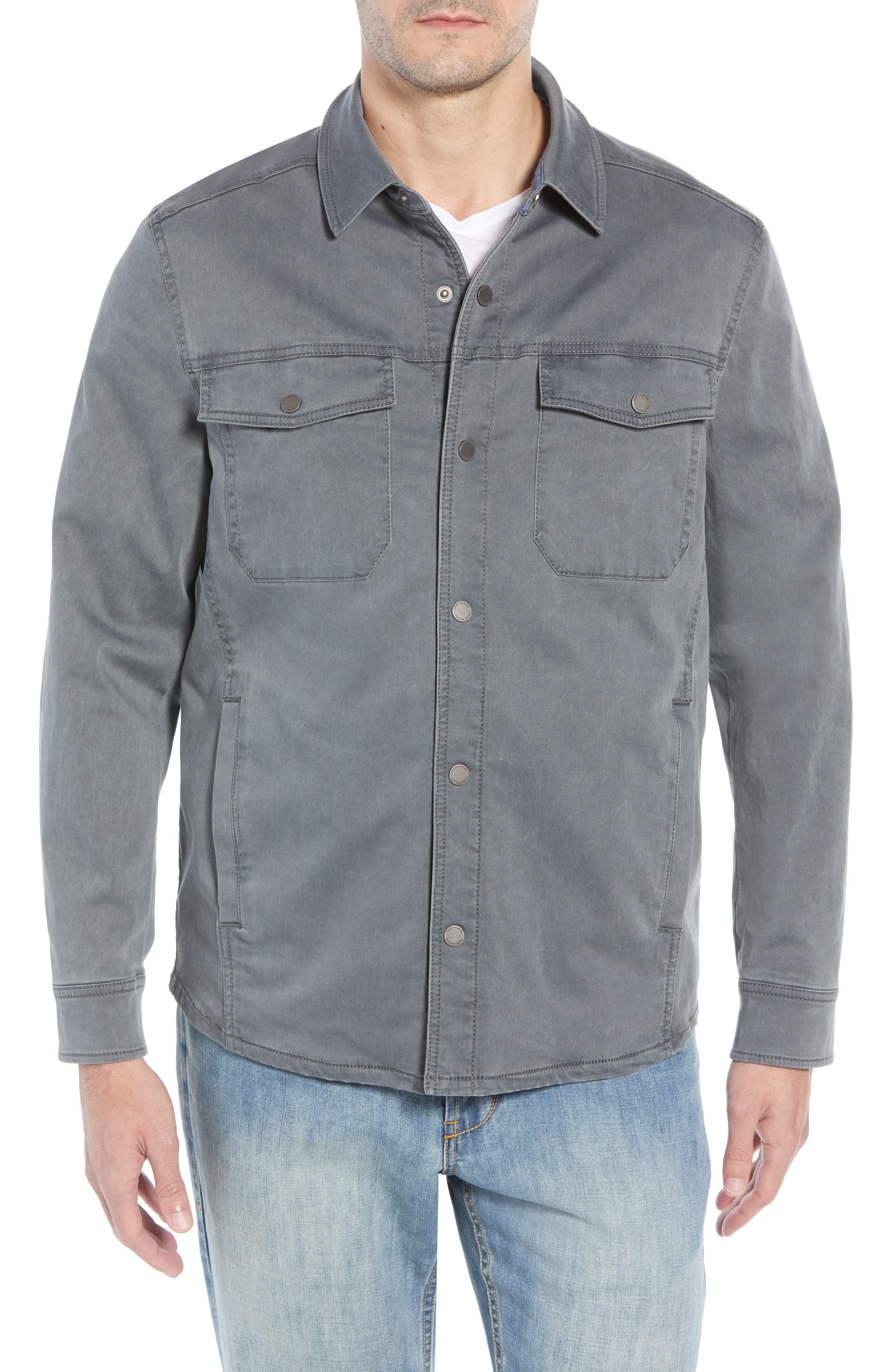 Boracay Regular Fit Shirt Jacket,                             Alternate thumbnail 4, color,                             FOG GREY