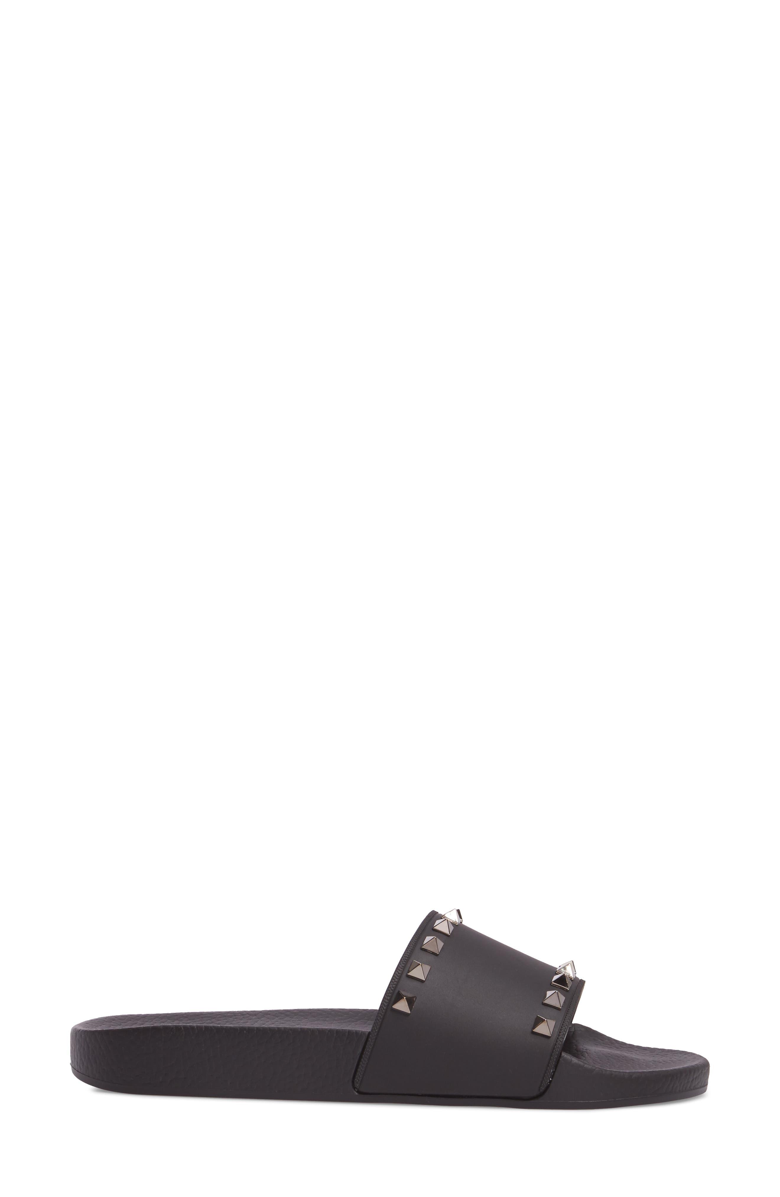 Rockstud Slide Sandal,                             Alternate thumbnail 3, color,                             NERO