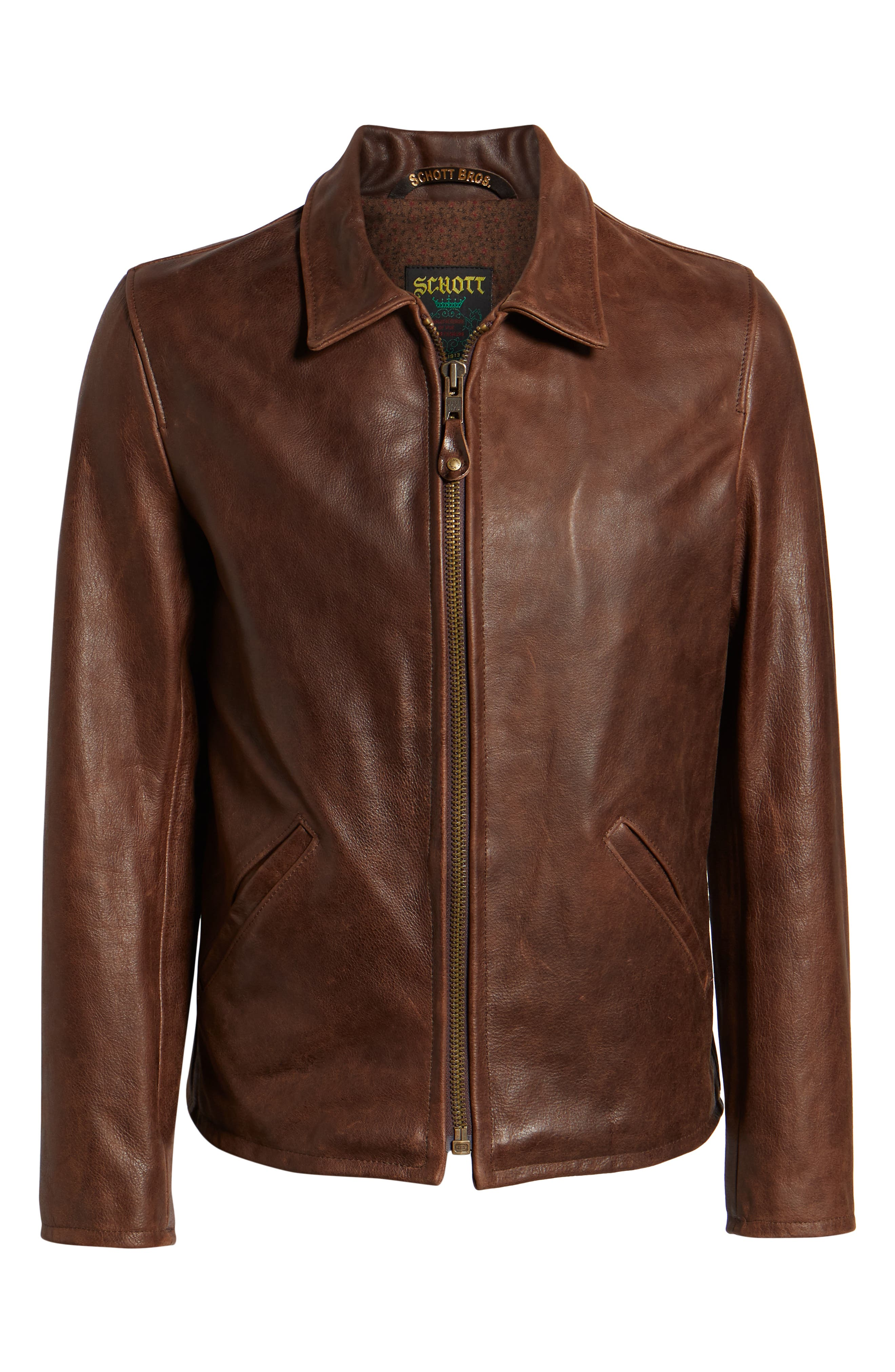 Waxy Naked Buffalo Leather Delivery Jacket,                             Alternate thumbnail 6, color,                             200