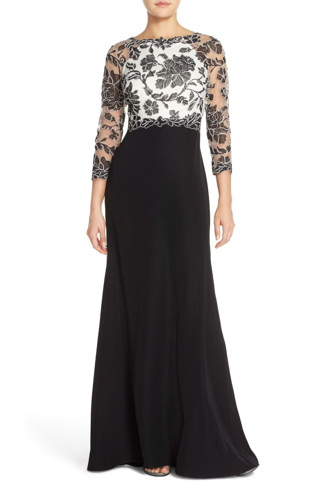 Embroidered Lace Gown,                         Main,                         color,
