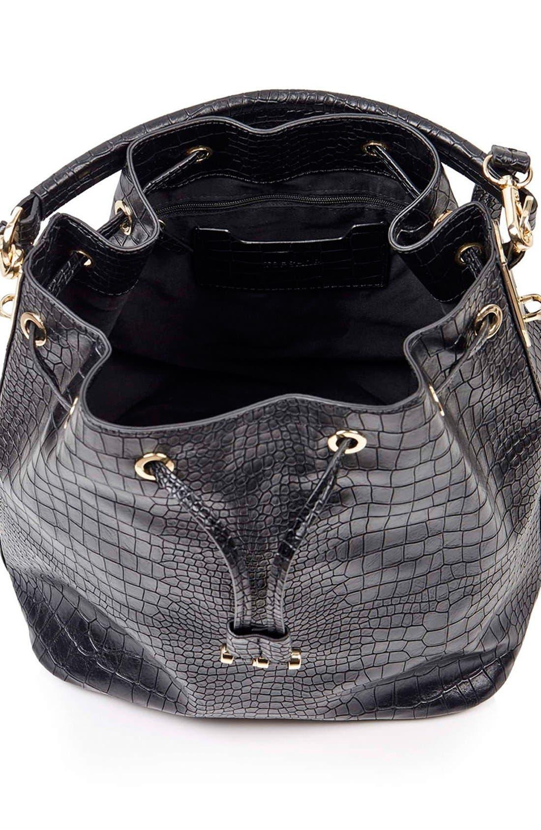 Croc Embossed Bucket Bag,                             Alternate thumbnail 5, color,                             001