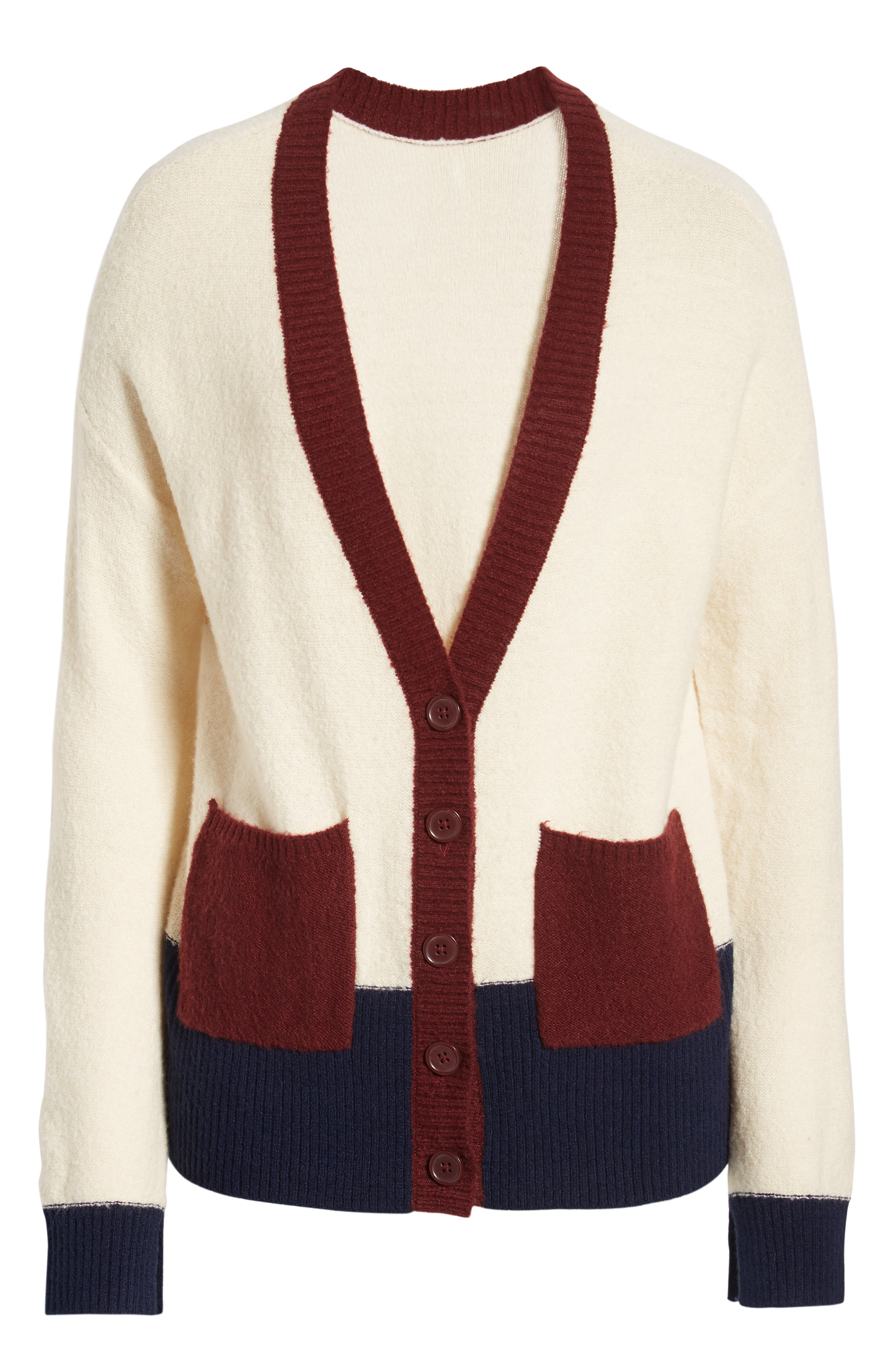 Colorblock V-Neck Cardigan,                             Alternate thumbnail 6, color,                             BEIGE OATMEAL LIGHT HEATHER