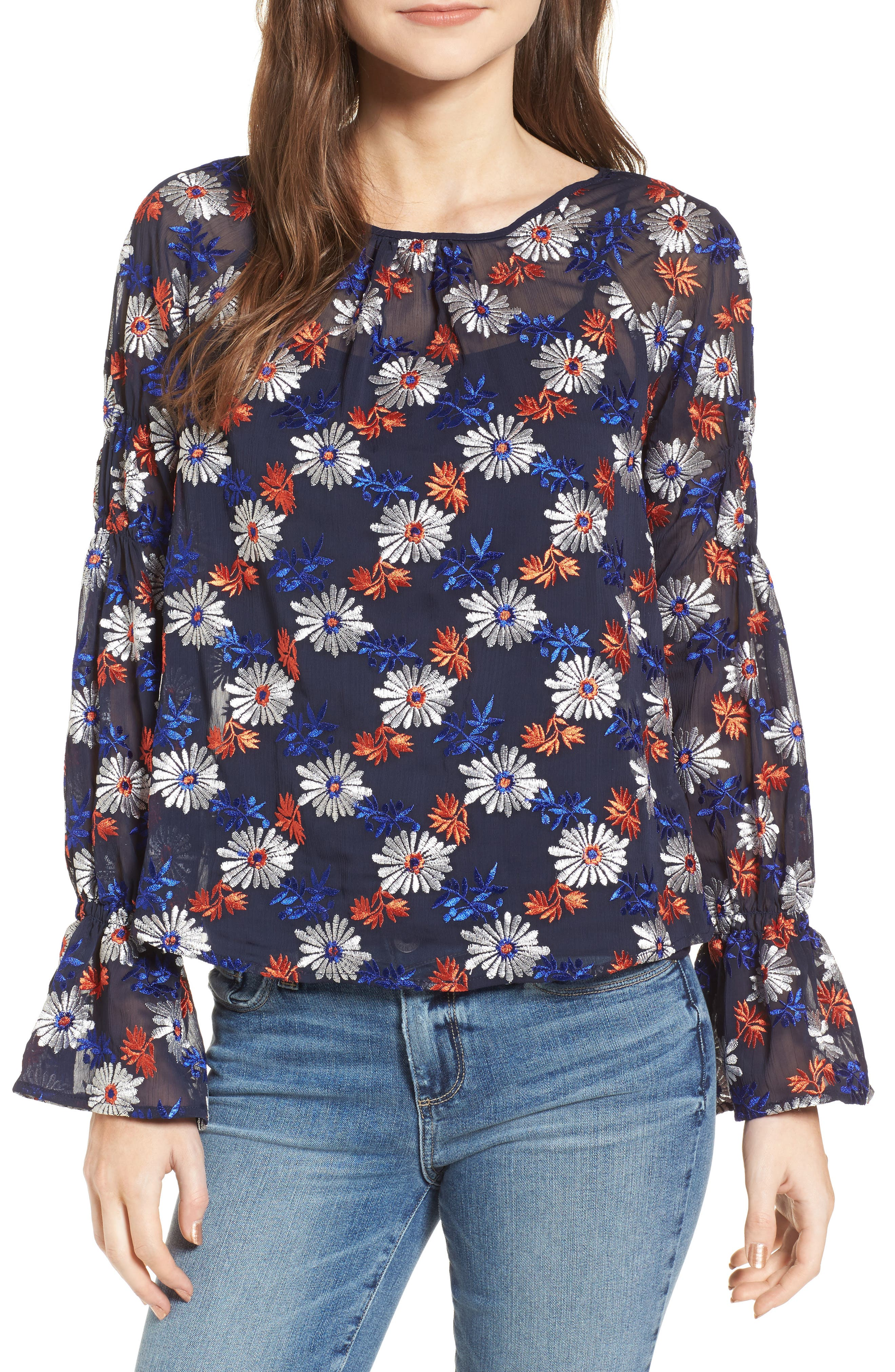 Embroidered Floral Blouse,                         Main,                         color, 419