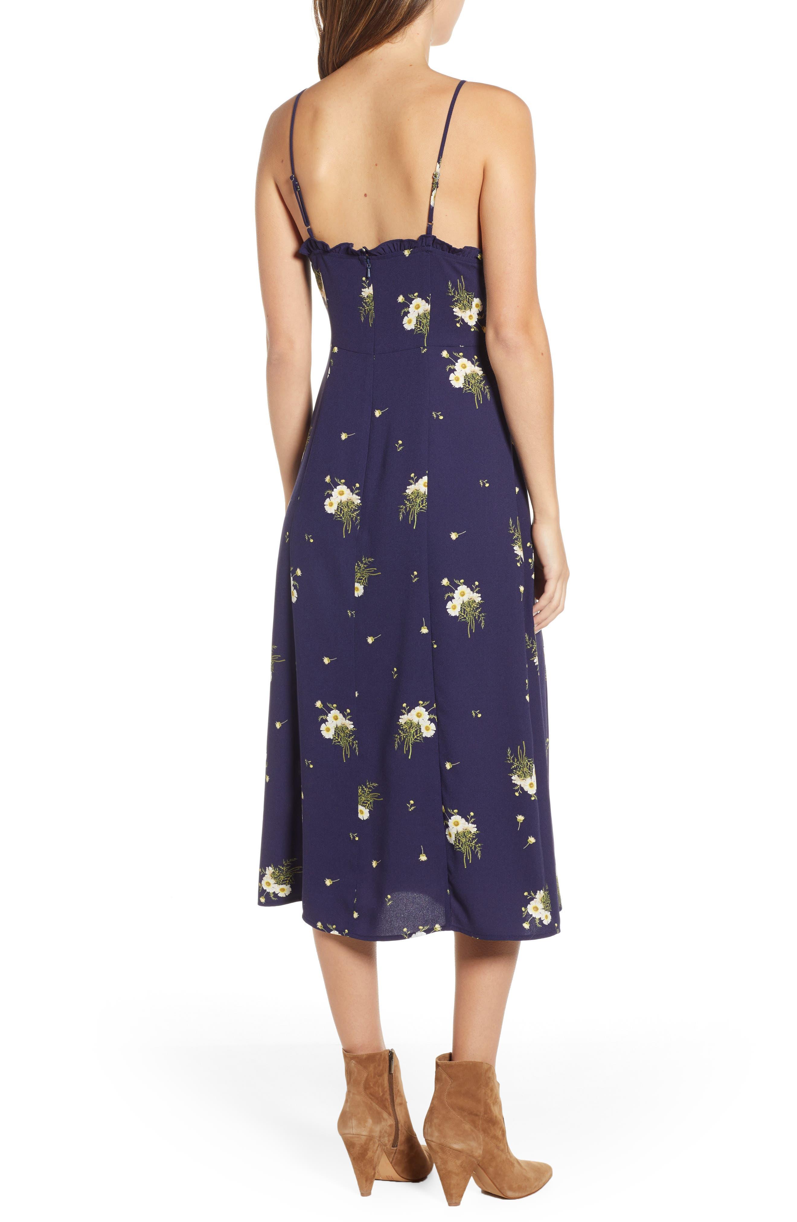BP.,                             Ruffle Trim Floral Print Midi Dress,                             Alternate thumbnail 3, color,                             NAVY EVENING DAISY