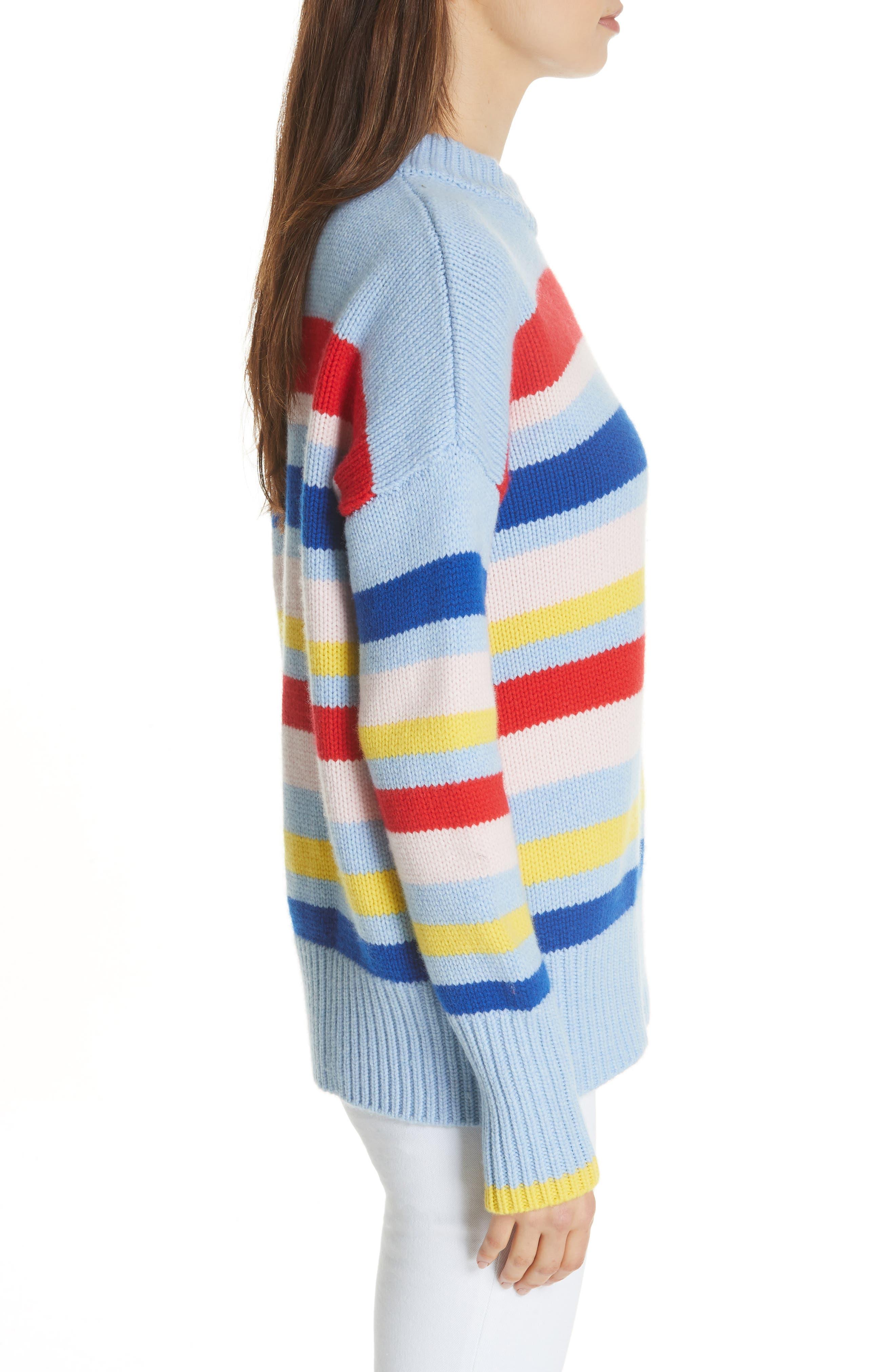 LA LIGNE,                             Happy Marin Sweater,                             Alternate thumbnail 3, color,                             RAINBOW STRIPE