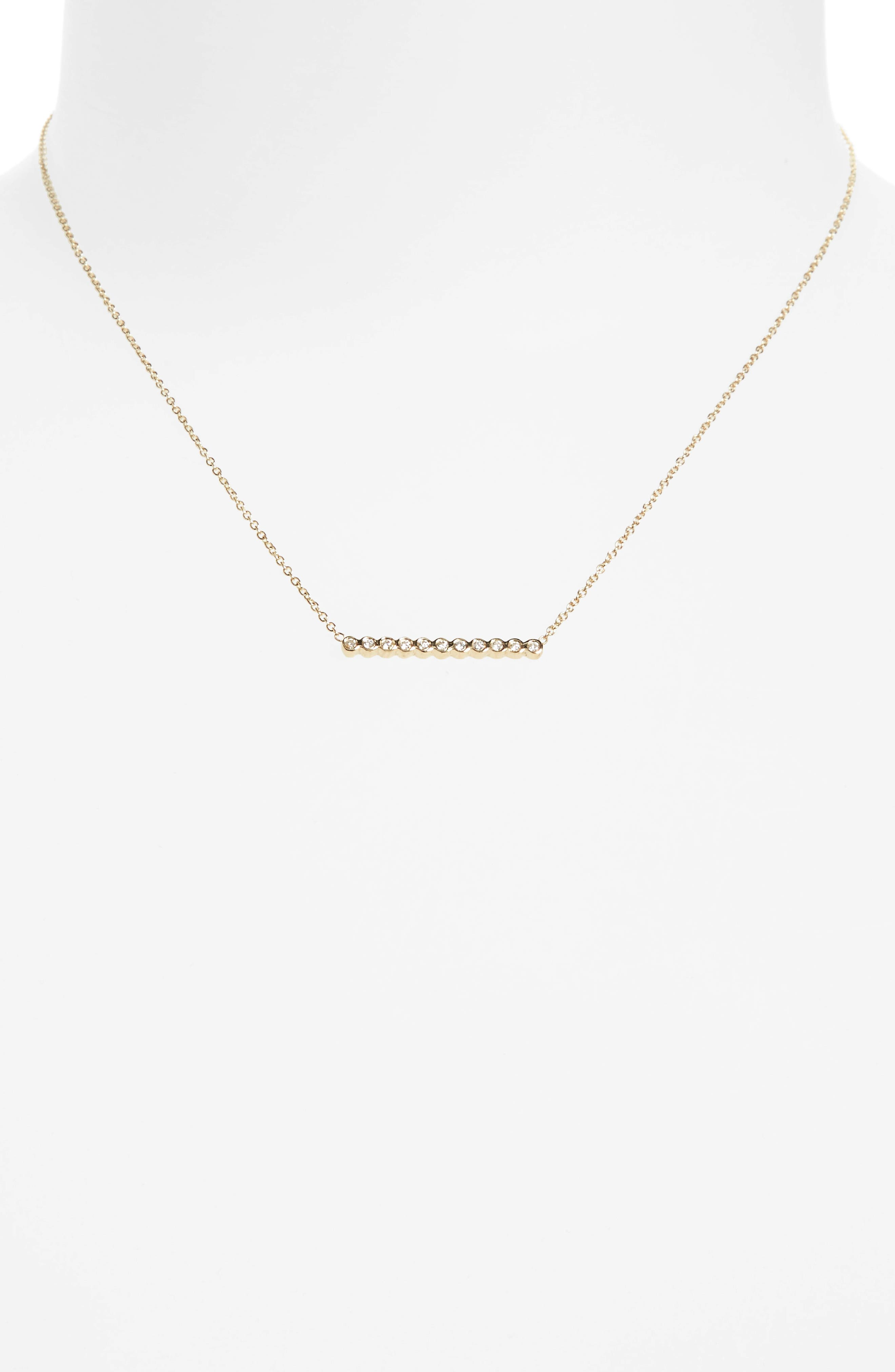 Diamond Bar Pendant Necklace,                             Alternate thumbnail 3, color,                             YELLOW GOLD