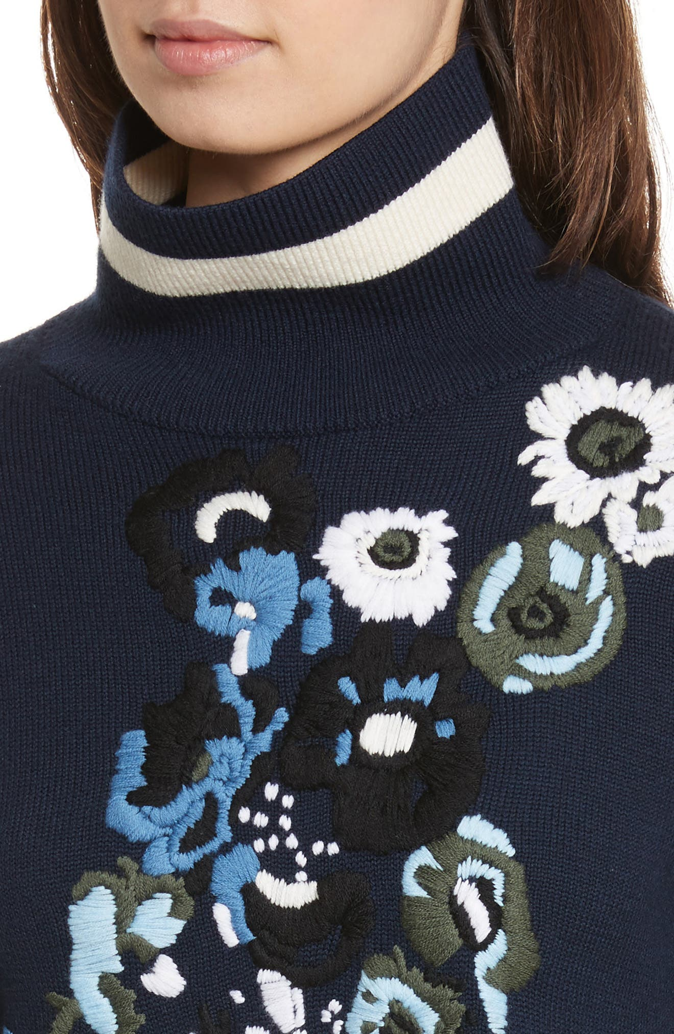 Pia Floral Turtleneck Sweater,                             Alternate thumbnail 4, color,                             410