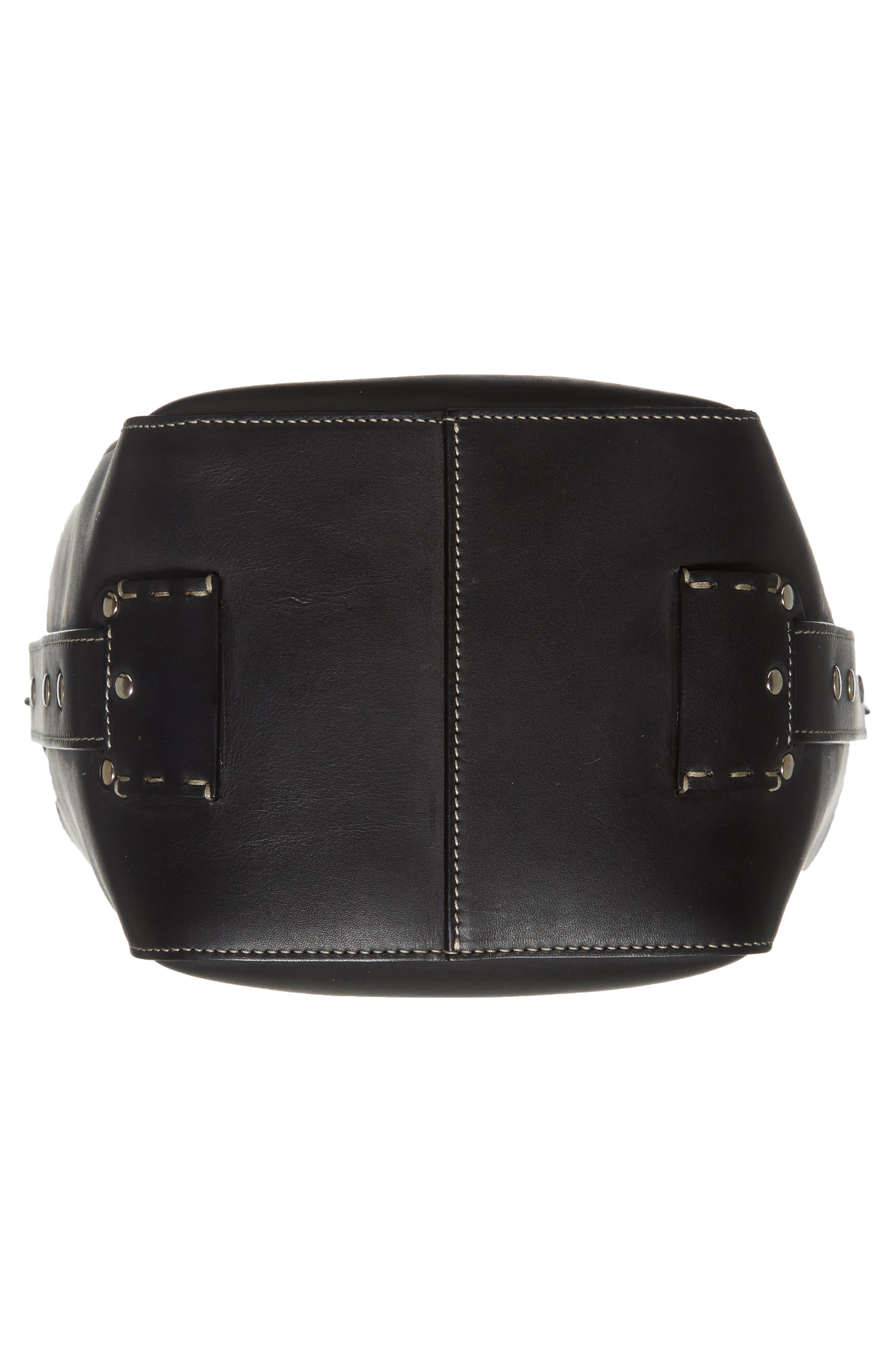 Starlet Leather Bucket Bag,                             Alternate thumbnail 6, color,                             BLACK