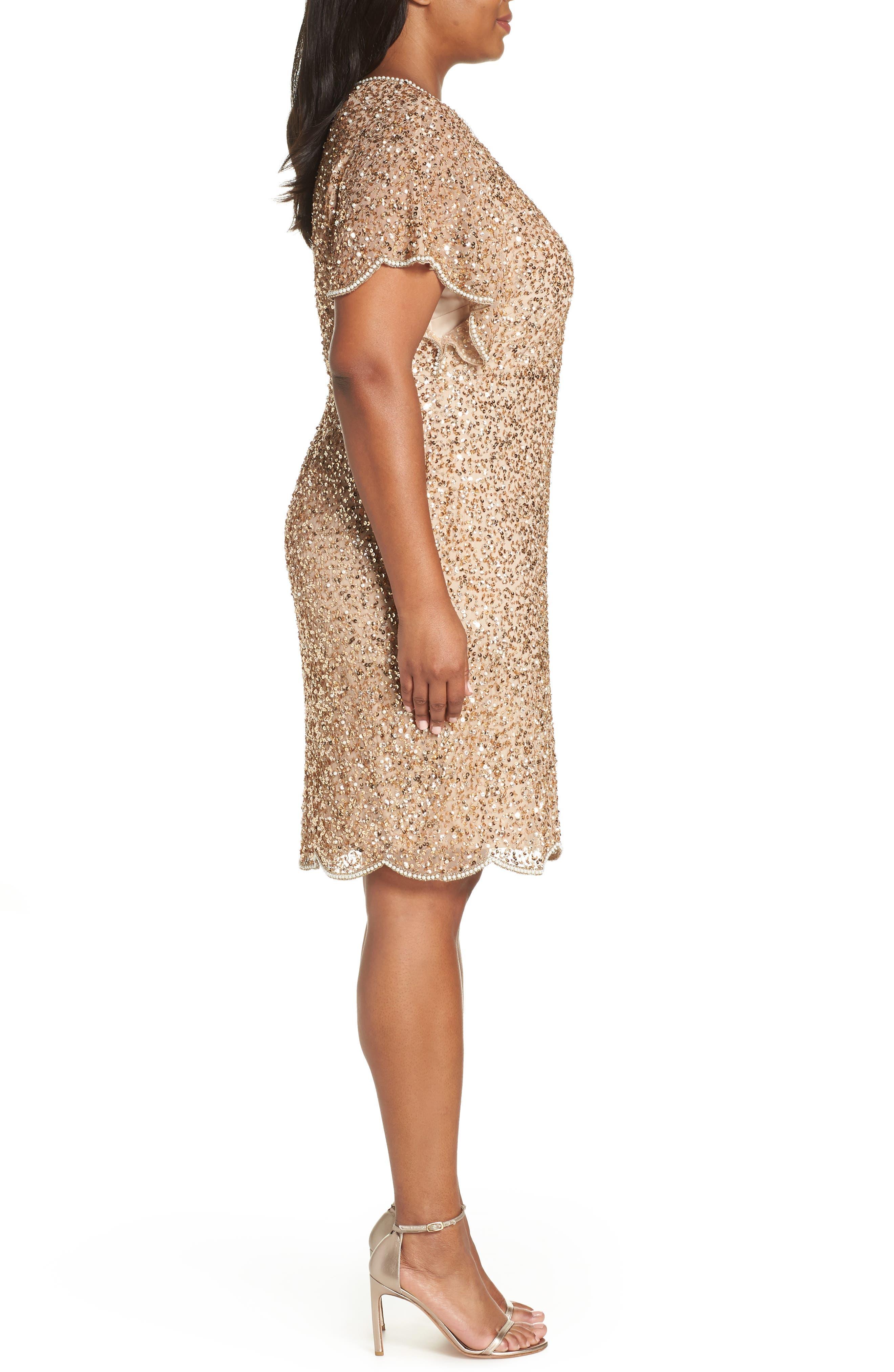 Beaded Flutter Sleeve Sheath Dress,                             Alternate thumbnail 3, color,                             CHAMPAGNE/ GOLD