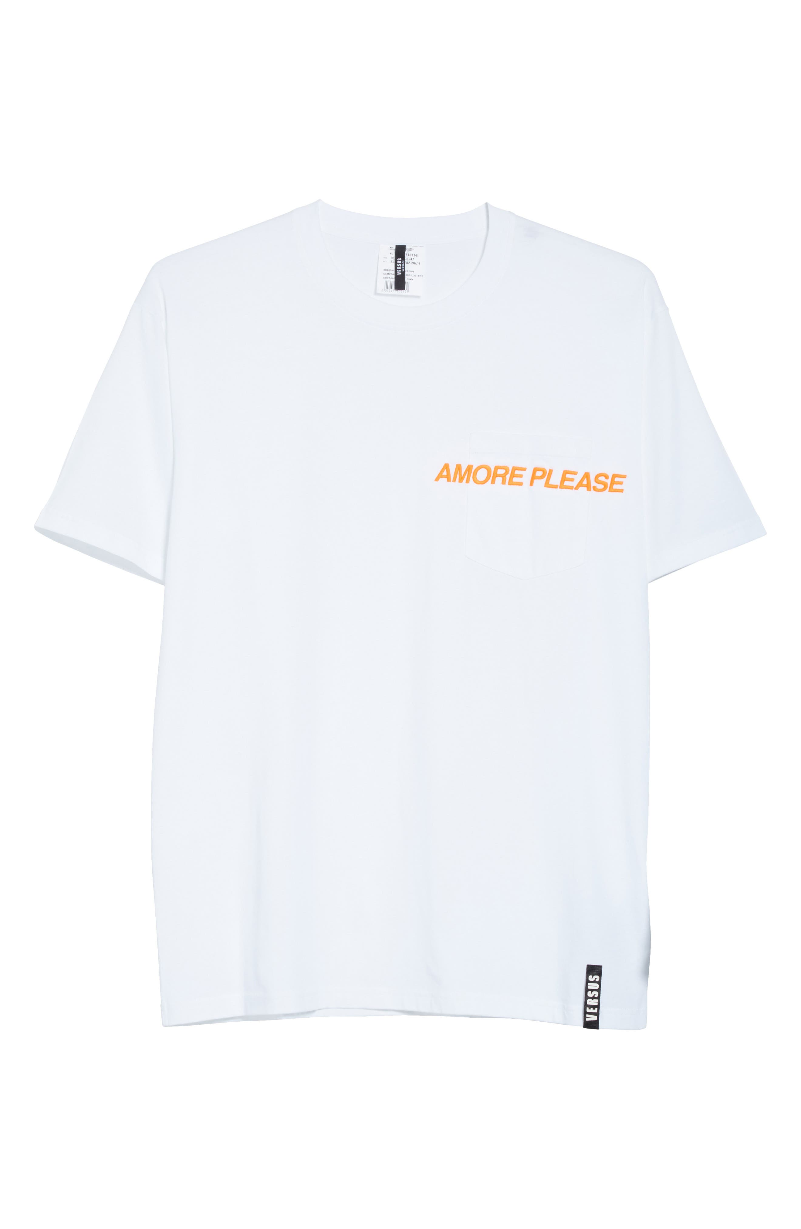 VERSUS by Versace Embroidered Amore Please Pocket T-Shirt,                             Alternate thumbnail 6, color,